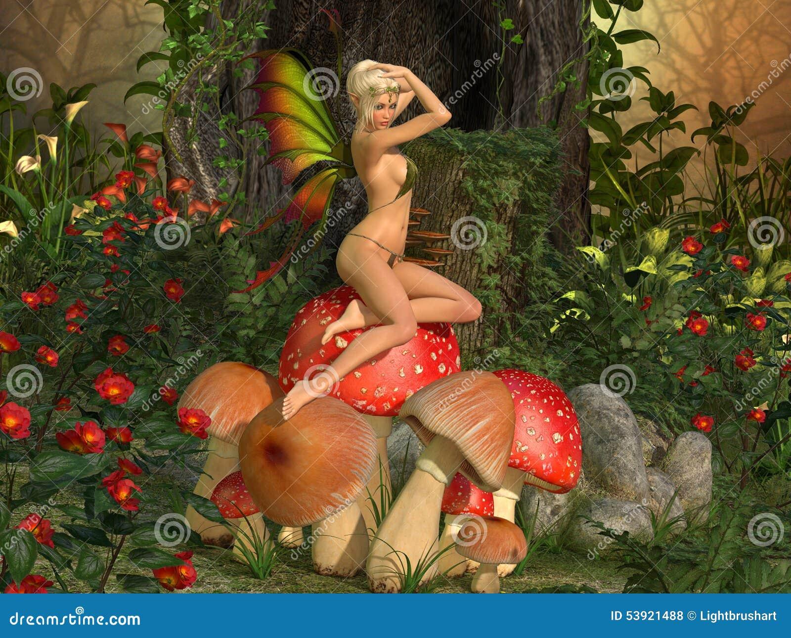 Le conte de fées elven la belle femme sur le champignon