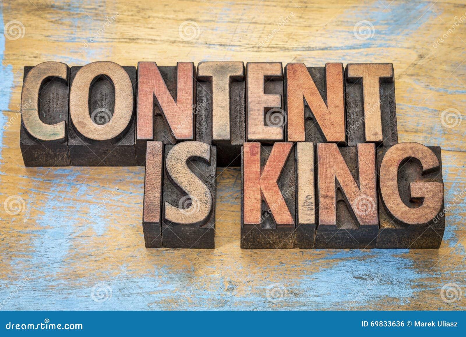 Le contenu est roi dans le type en bois