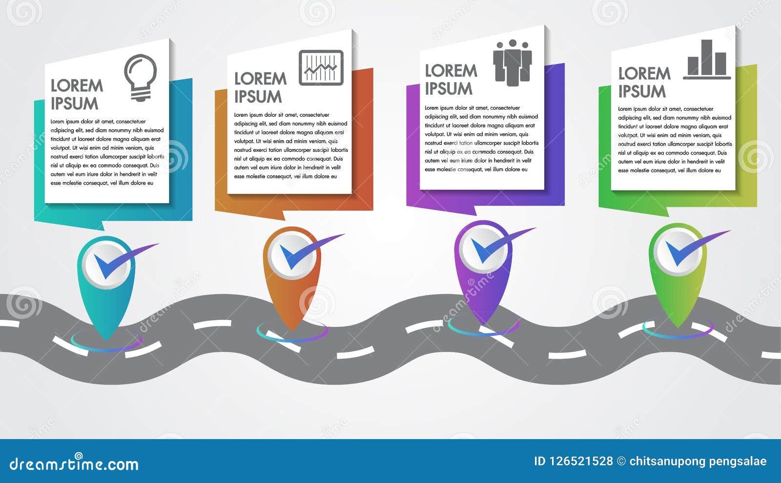 Le copie-espace de calibre d étapes de la chronologie 4 d étapes importantes d Business Infographics Vector Company avec des indi