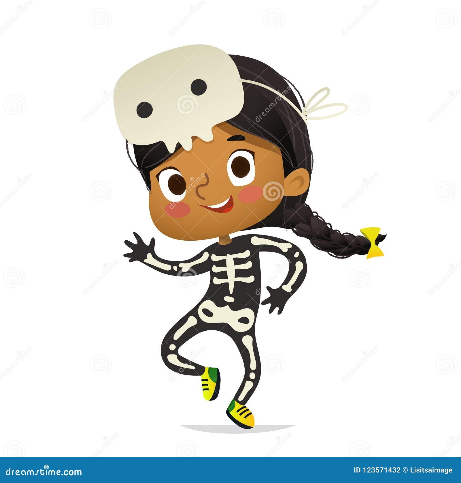 Le costume et le crâne de port de skeletom de fille afro-américaine masquent la danse Enfant de fille dans la danse de costume de