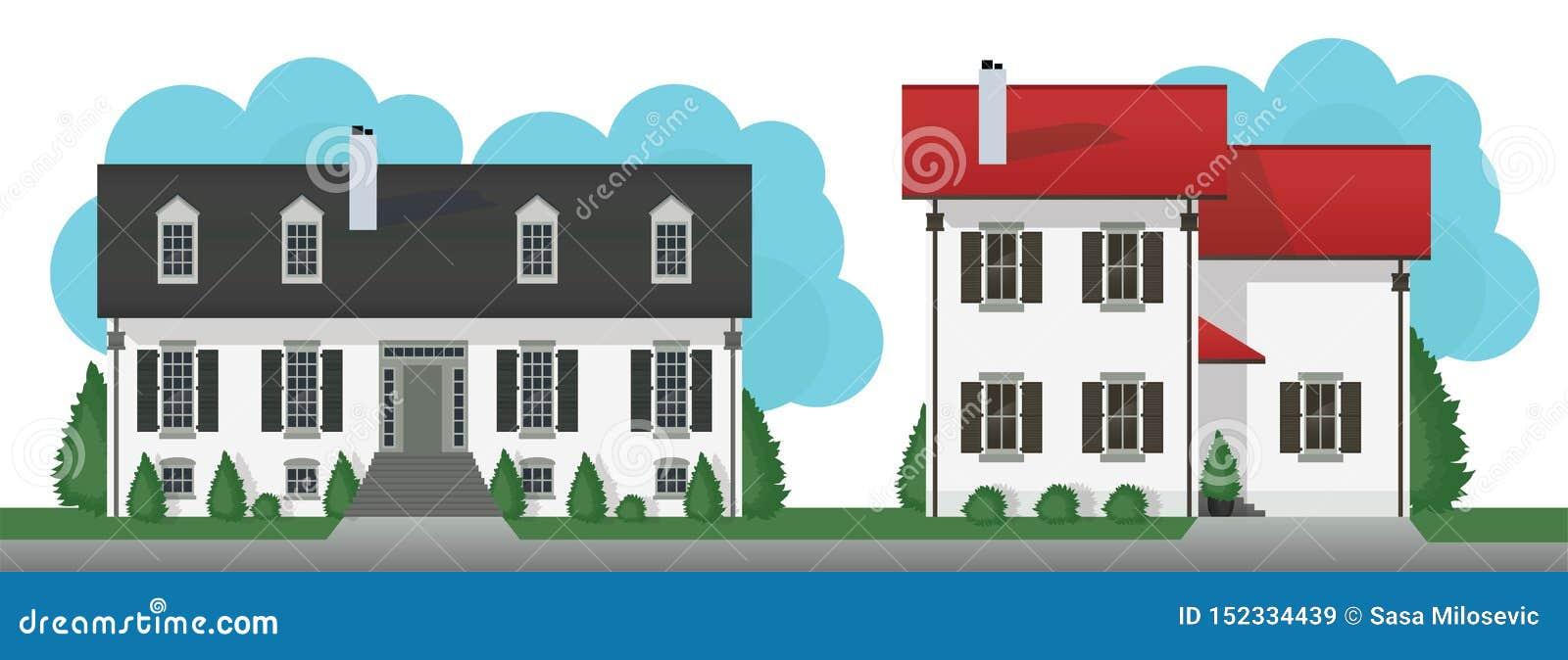 Le cottage moderne loge l ensemble de vecteur