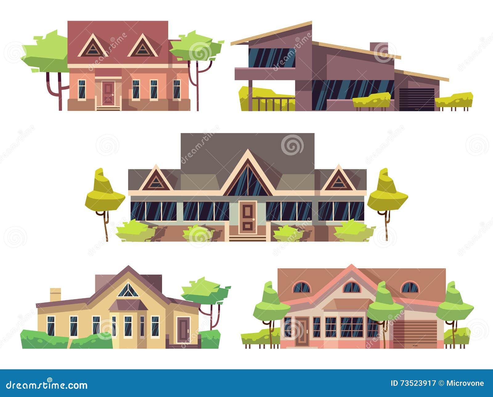 Le cottage résidentiel privé loge les icônes plates de vecteur