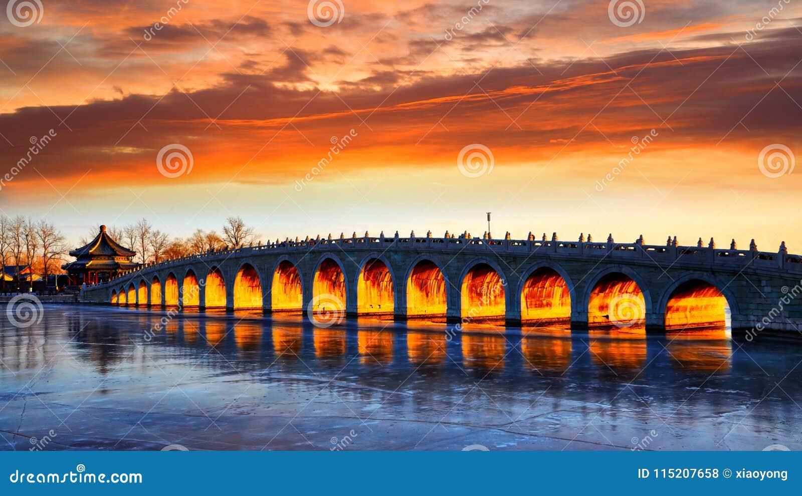 Le coucher du soleil magique du pont 17-Arch, palais d été, Pékin