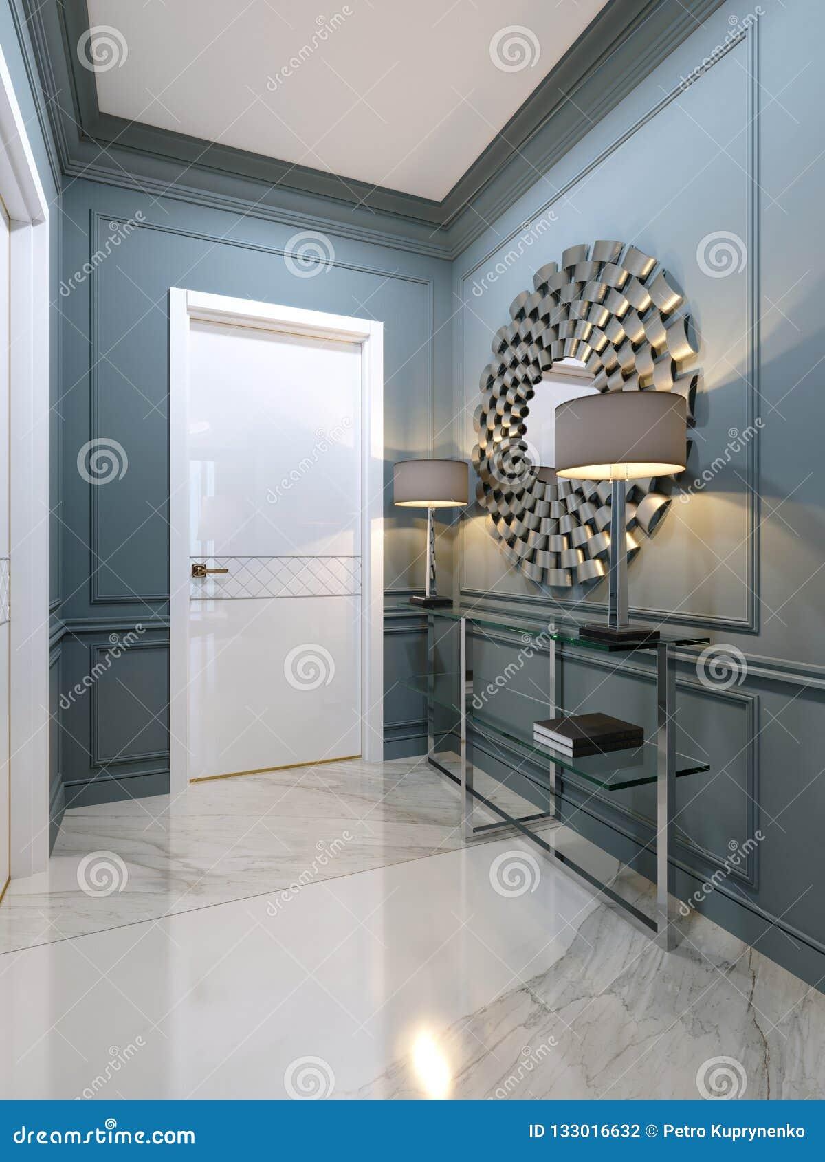Le Couloir Dans L\'appartement Avec Une Console Moderne En ...