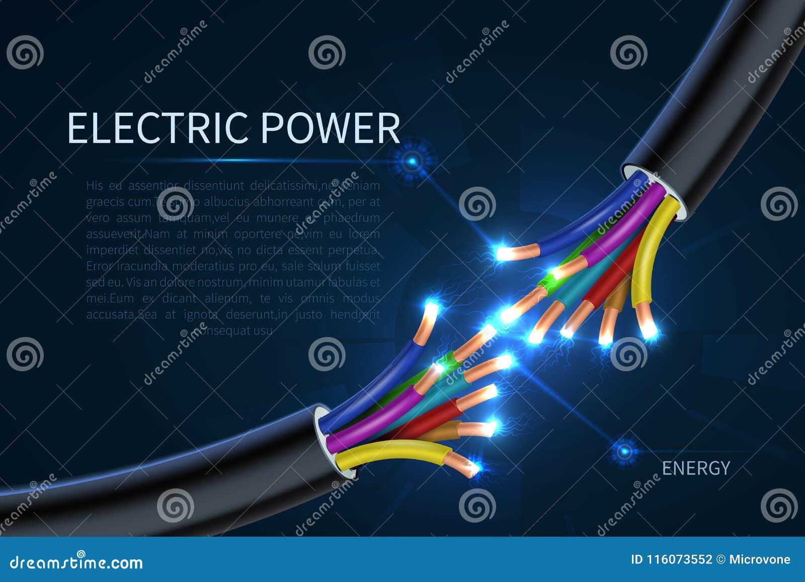 Le courant électrique câble, fond industriel de vecteur d abrégé sur fils électriques d énergie