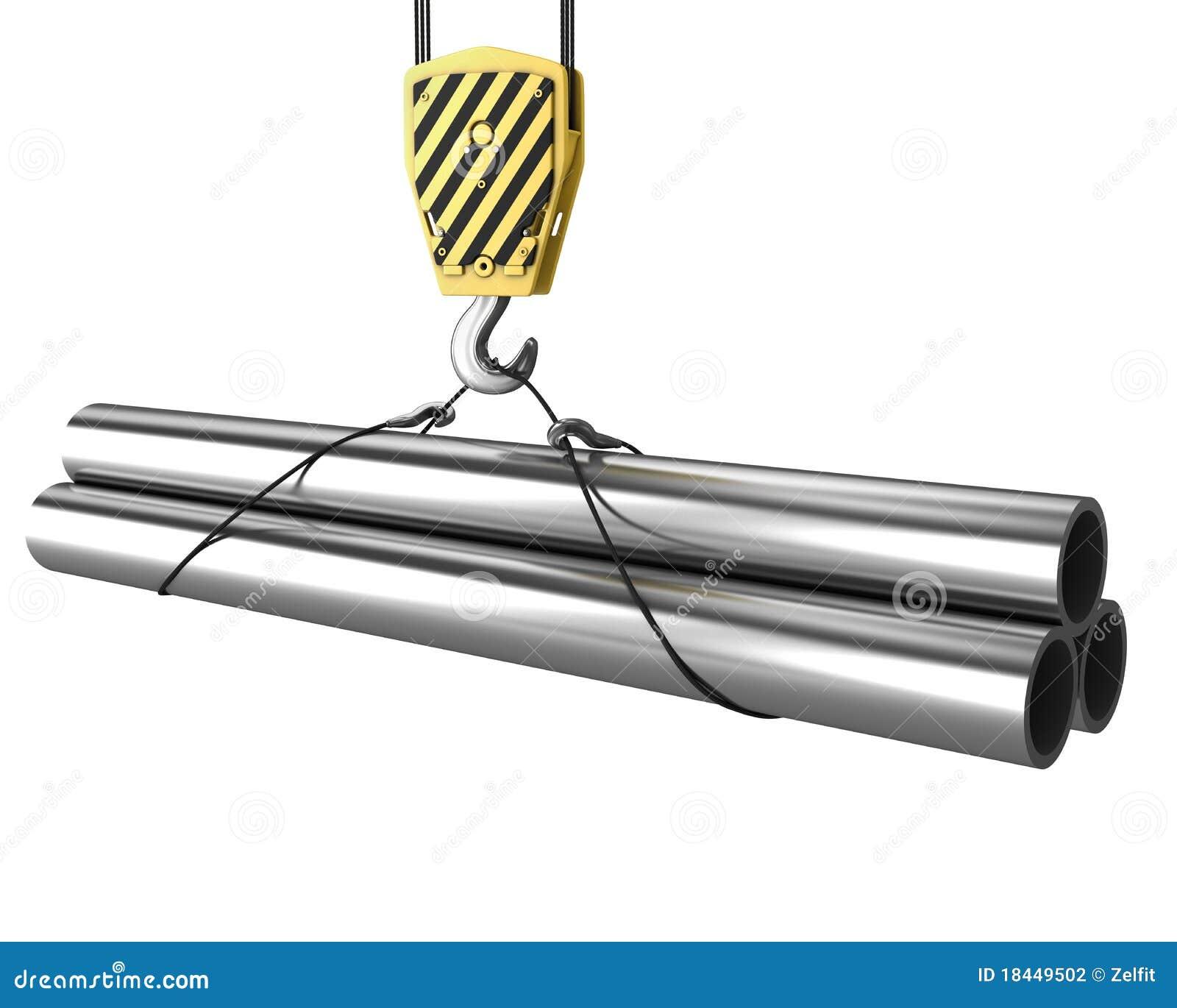 Le crochet de grue soulève vers le haut peu de pipes