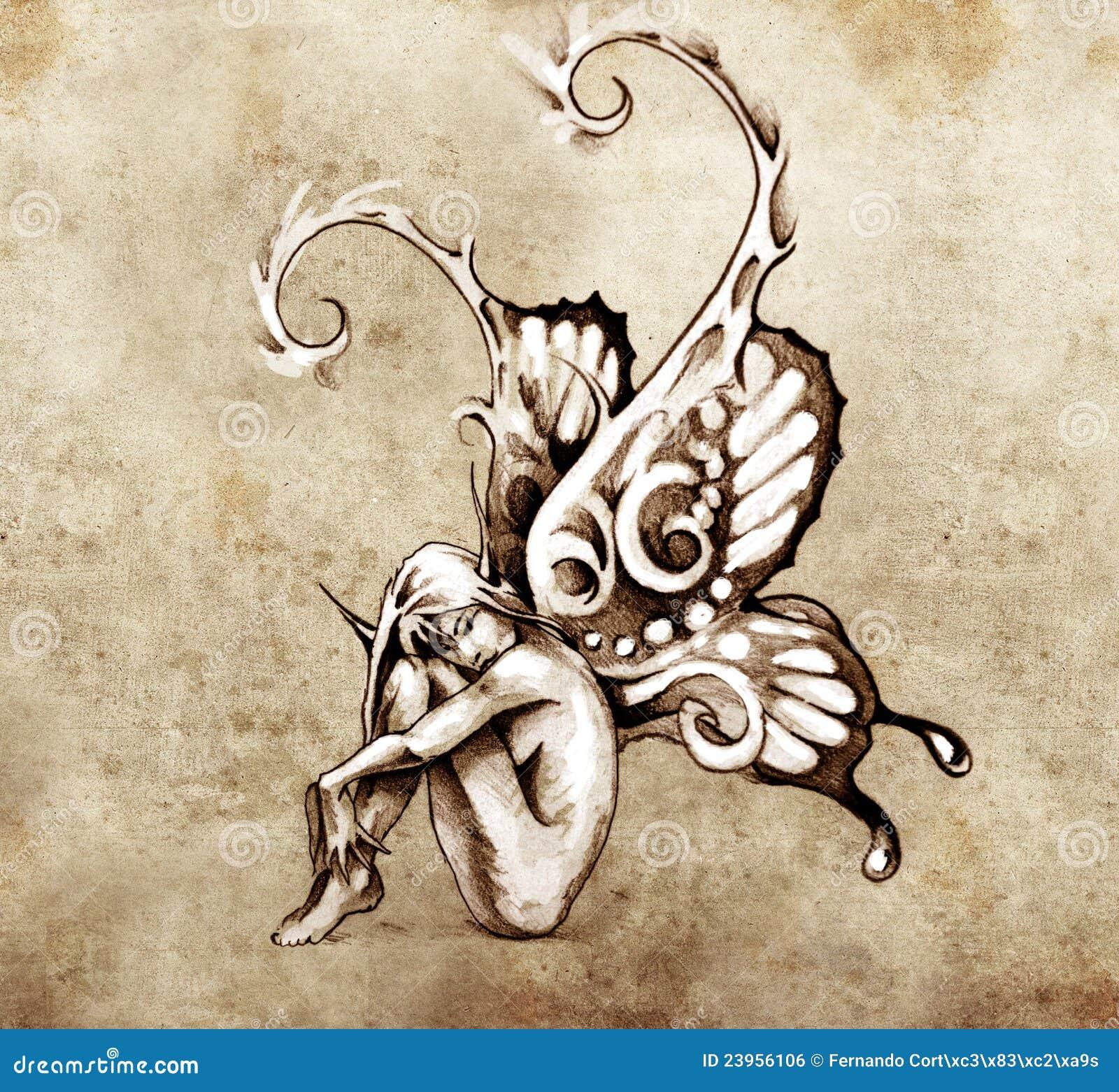 le croquis de l 39 art de tatouage f e avec le guindineau s 39 envole image libre de droits image. Black Bedroom Furniture Sets. Home Design Ideas