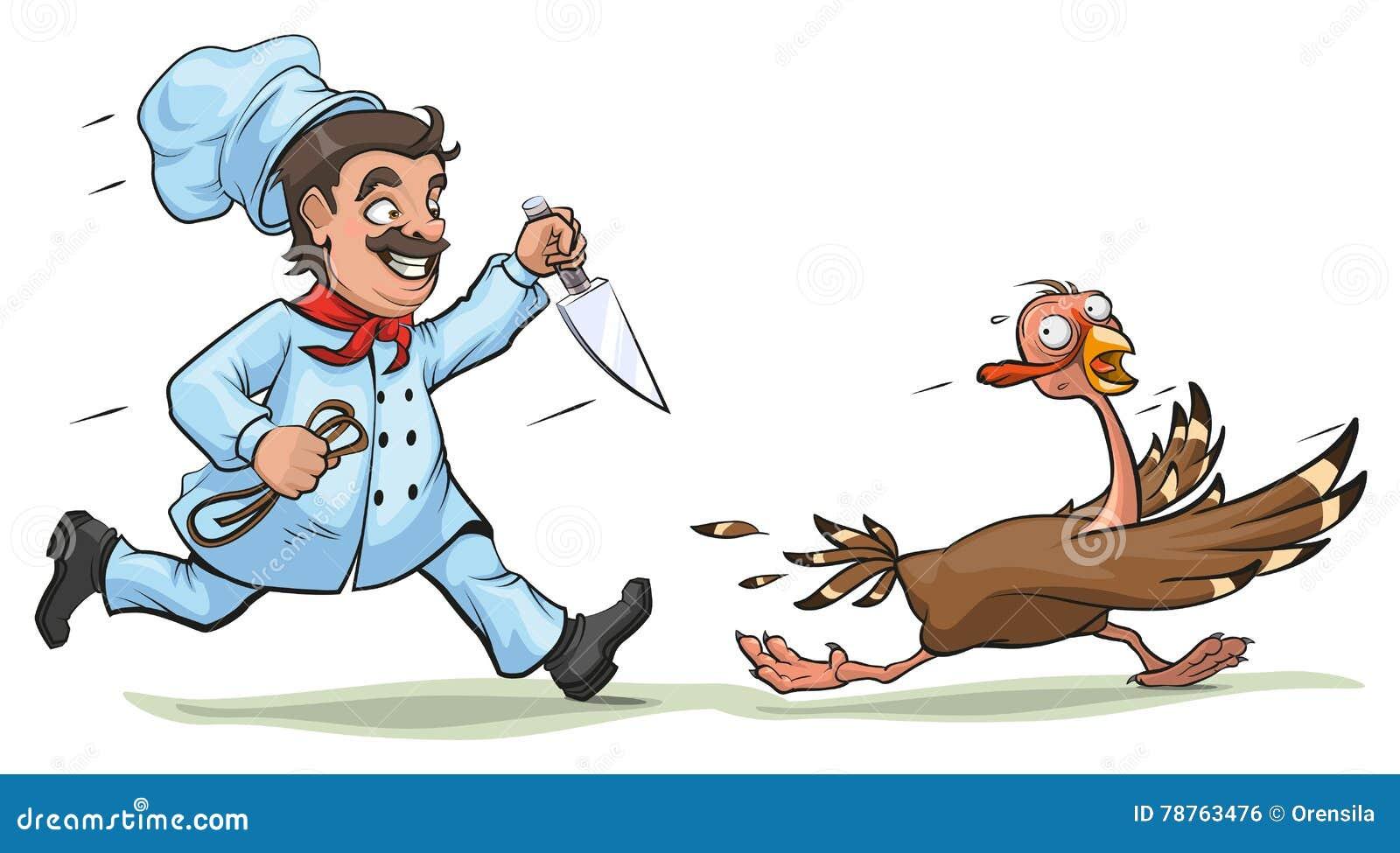 Le cuisinier avec le couteau poursuit la dinde effray e for Cuisinier humour