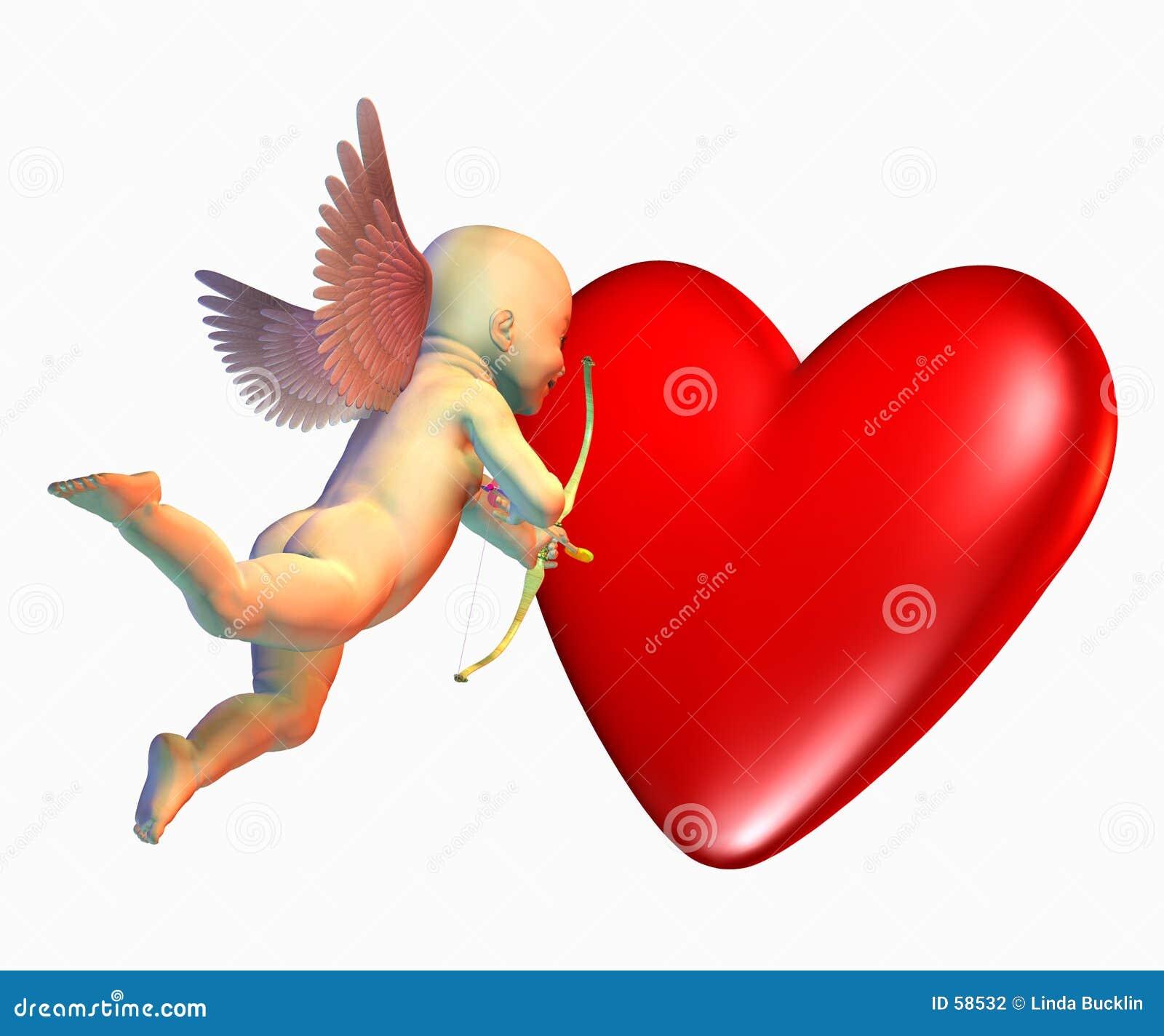 Le cupidon avec le coeur comprend le chemin de découpage