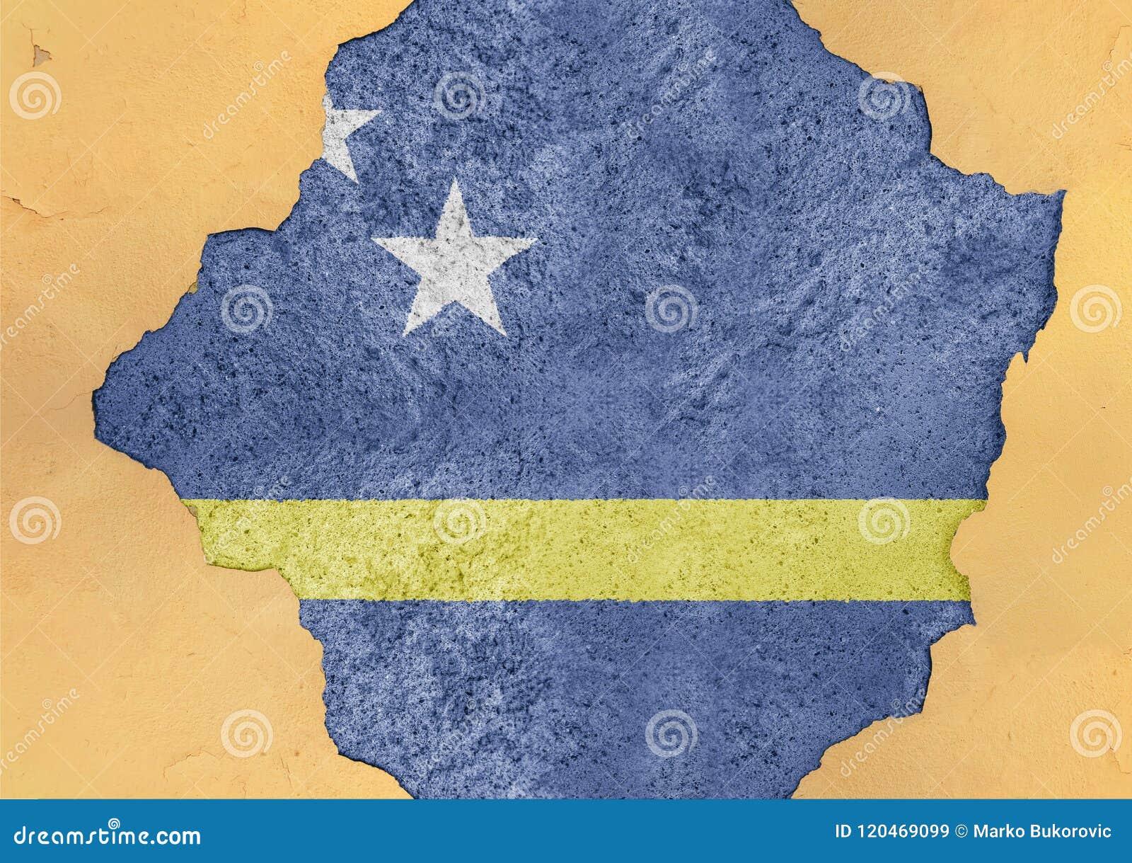 Le Curaçao énoncent la structure matérielle de façade cassée par drapeau en grand béton