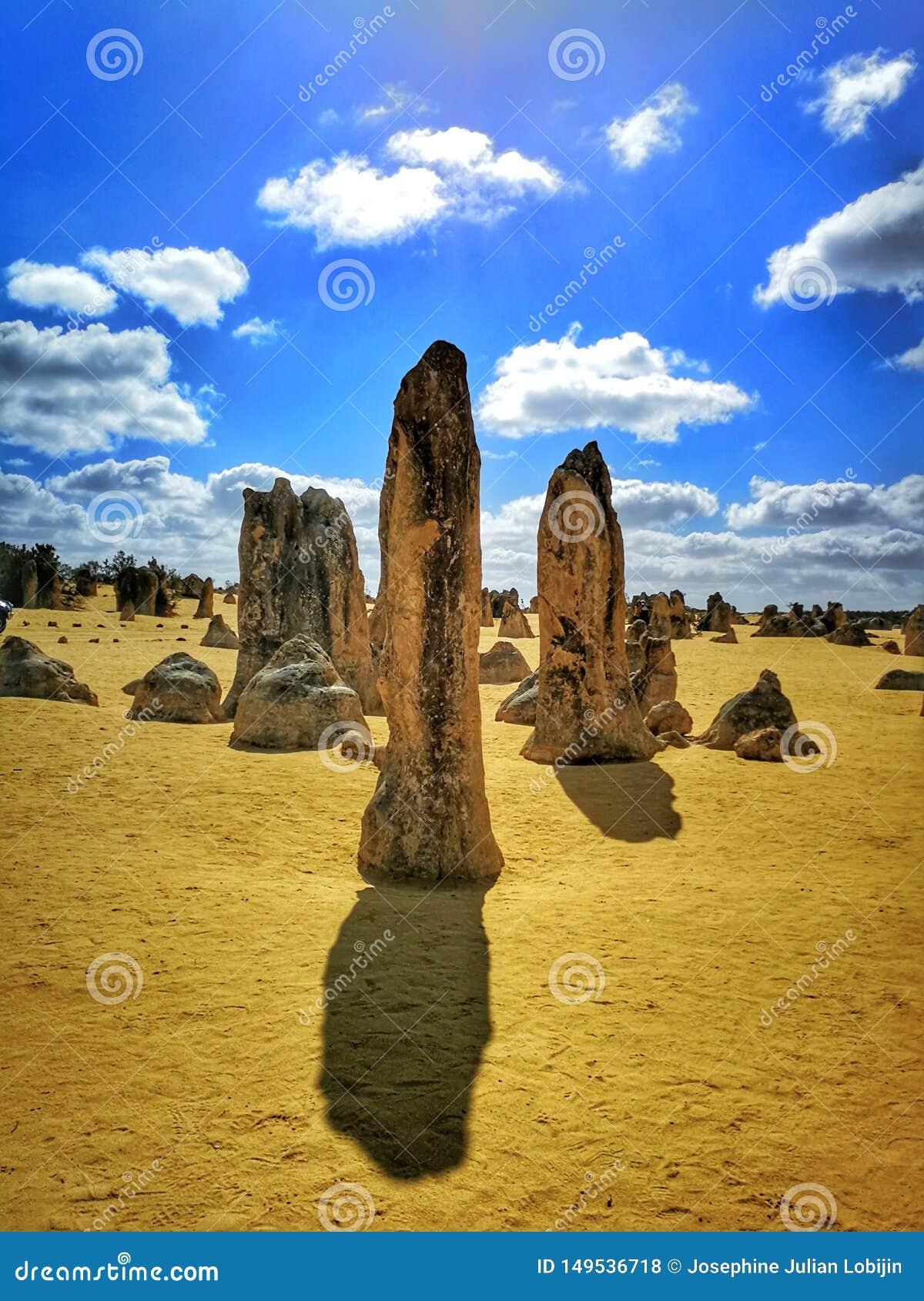 Le désert de sommet, les formations de chaux dans le parc national de Nambung,