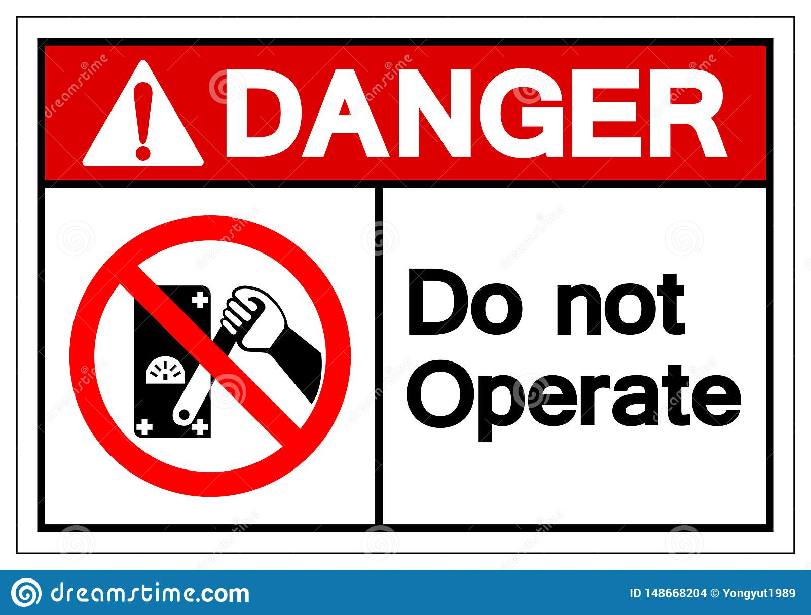 Le danger n actionnent pas le signe de symbole, illustration de vecteur, d isolement sur le label blanc de fond EPS10