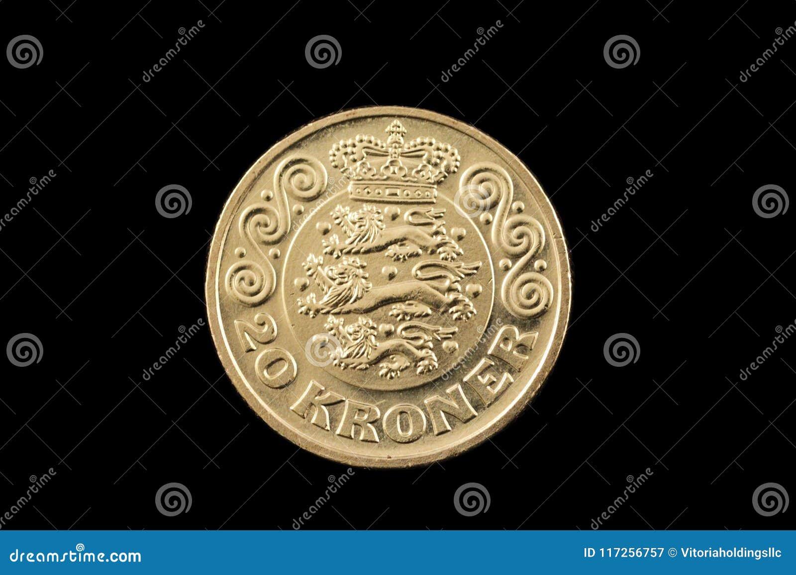 Le danois 20 couronnes inventent d isolement sur un fond noir