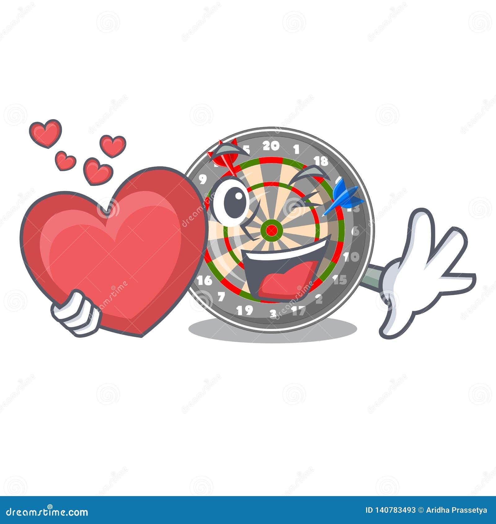 Le dartcoard de coeur étant isolé avec dans le caractère