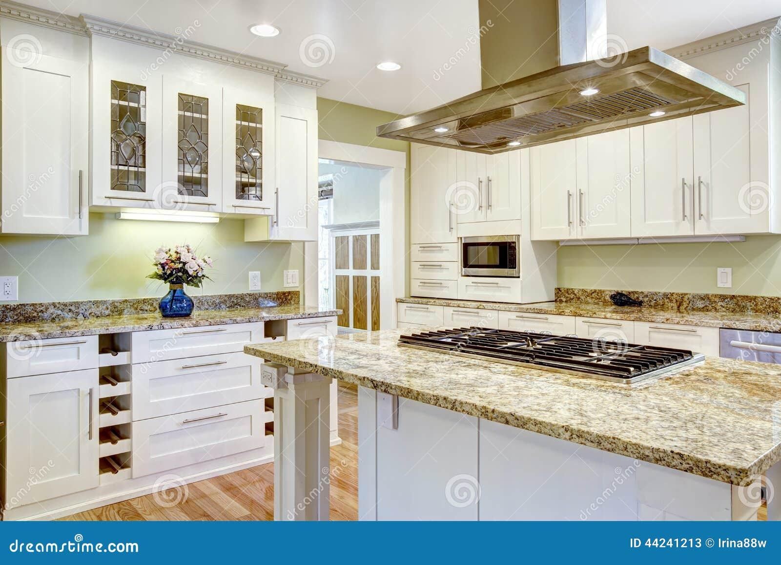 Le de cuisine avec le fourneau int gr le dessus de granit et le capot phot - Cuisine avec presqu ile ...