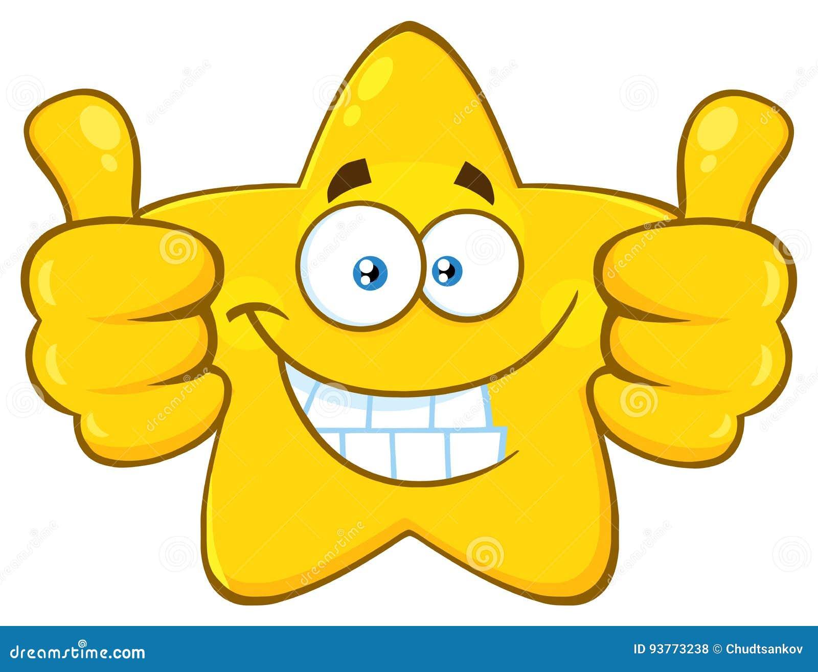 Le den gula stjärnatecknade filmen Emoji vända mot teckenet som ger upp två tummar