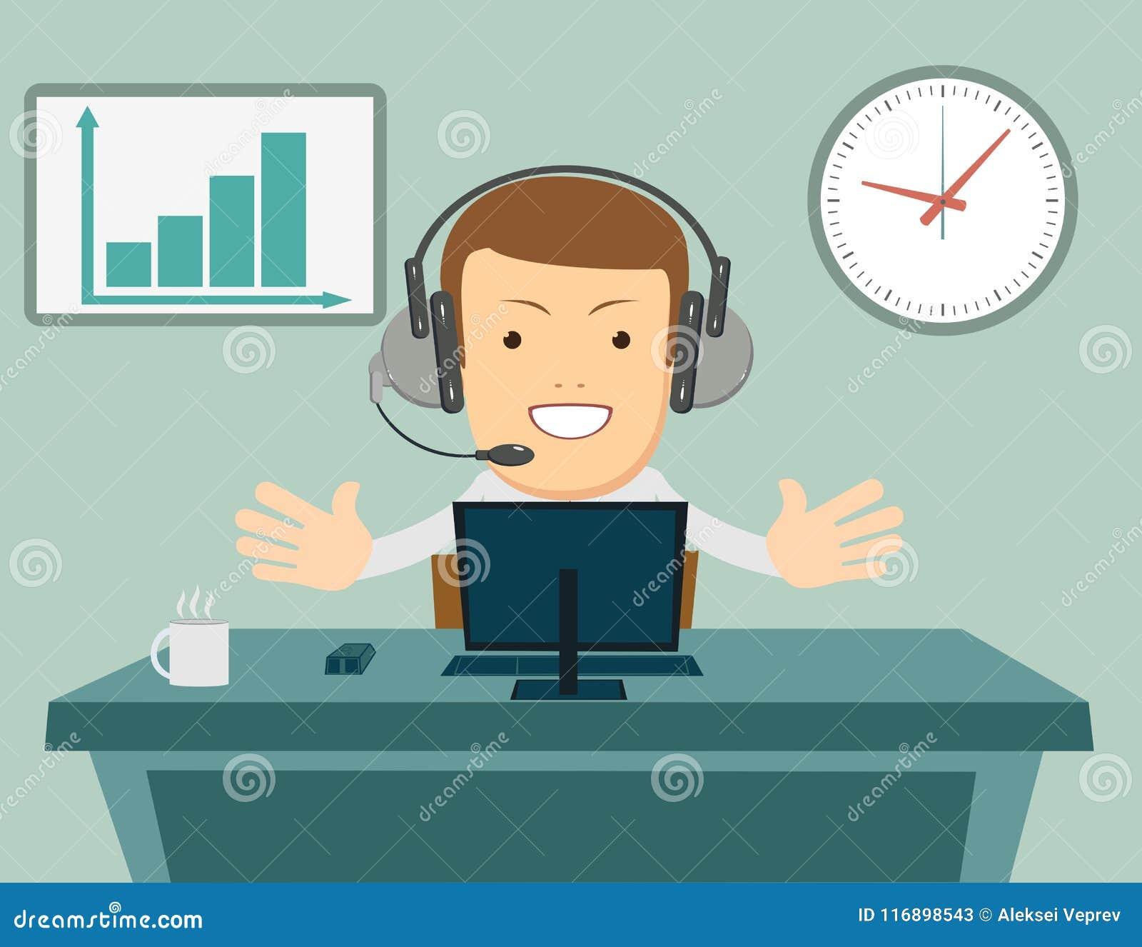 Le den manliga operatören med hörlurar med mikrofon som arbetar på appellmitten Grungebakgrund för dina publikationer