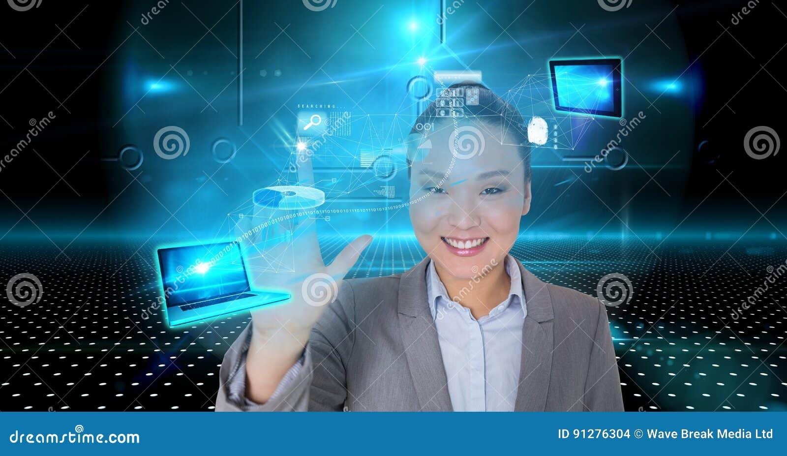 Le den rörande faktiska skärmen för affärskvinna