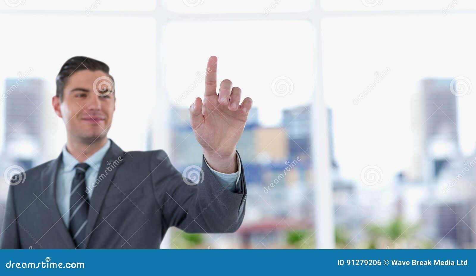 Le den rörande genomskinliga skärmen för affärsman