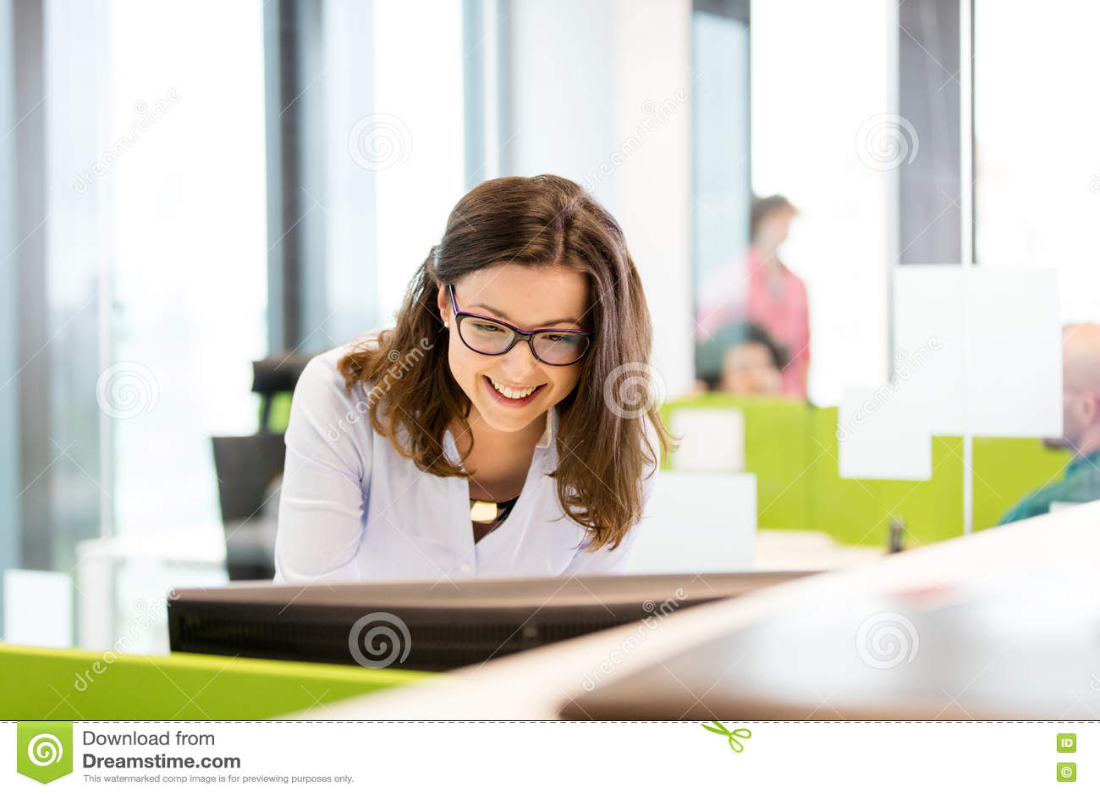 Le den unga affärskvinnan som i regeringsställning använder datoren