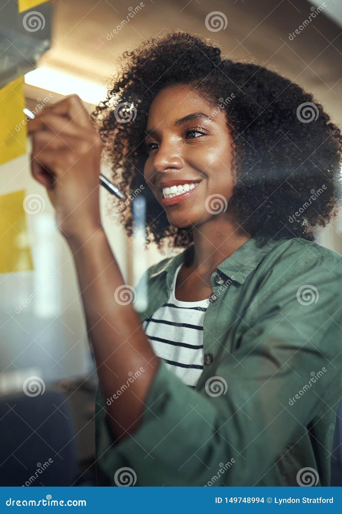 Le den unga affärskvinnan som skriver på självhäftande anmärkning över glen