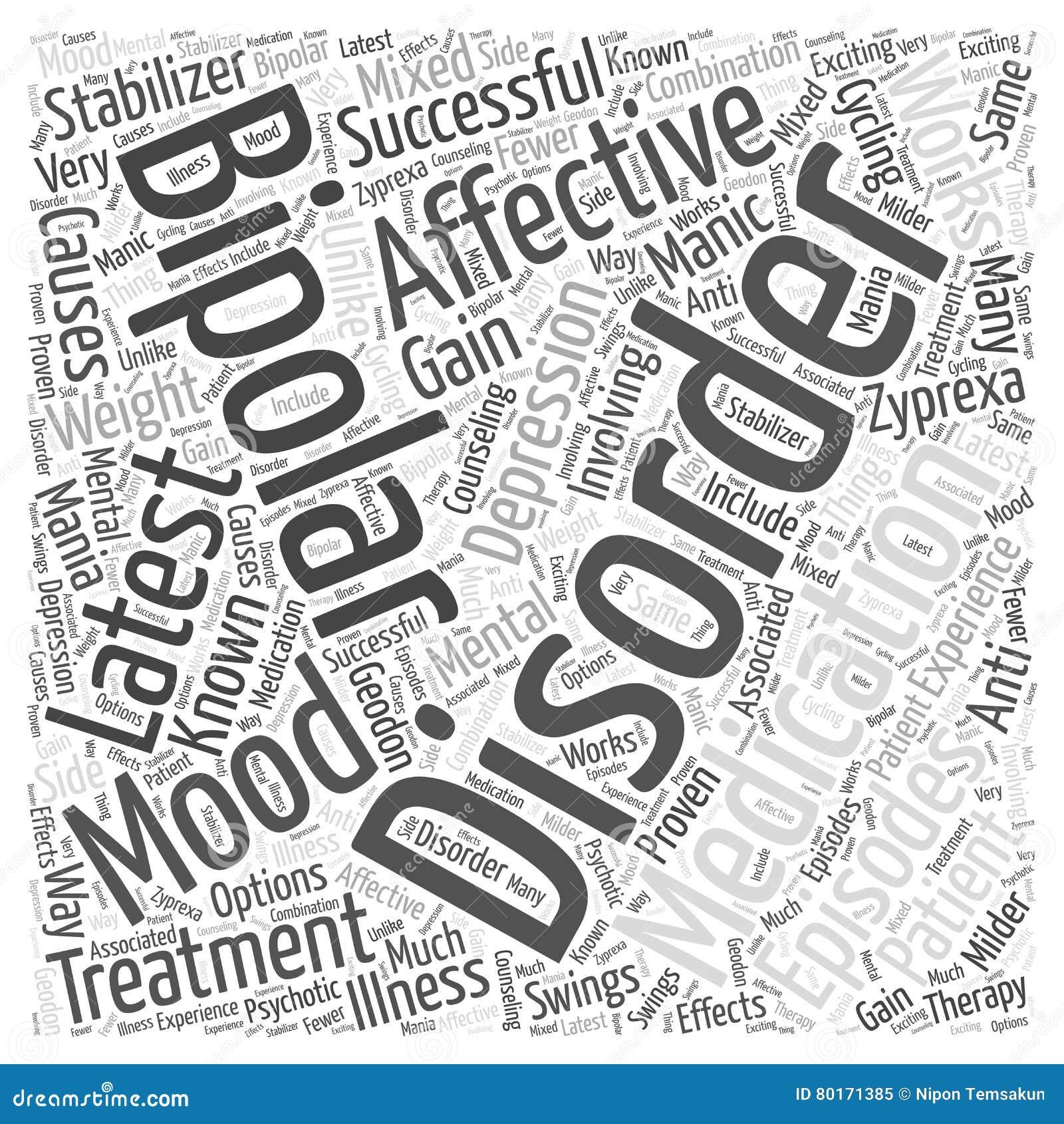 Le dernier médicament pour le concept bipolaire de nuage de mot de troubles affectifs