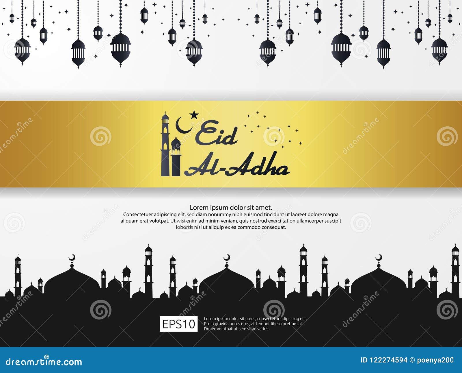 Le design de carte islamique de salutation d Eid al Adha Mubarak avec la mosquée de dôme et l élément accrochant de lanterne en p
