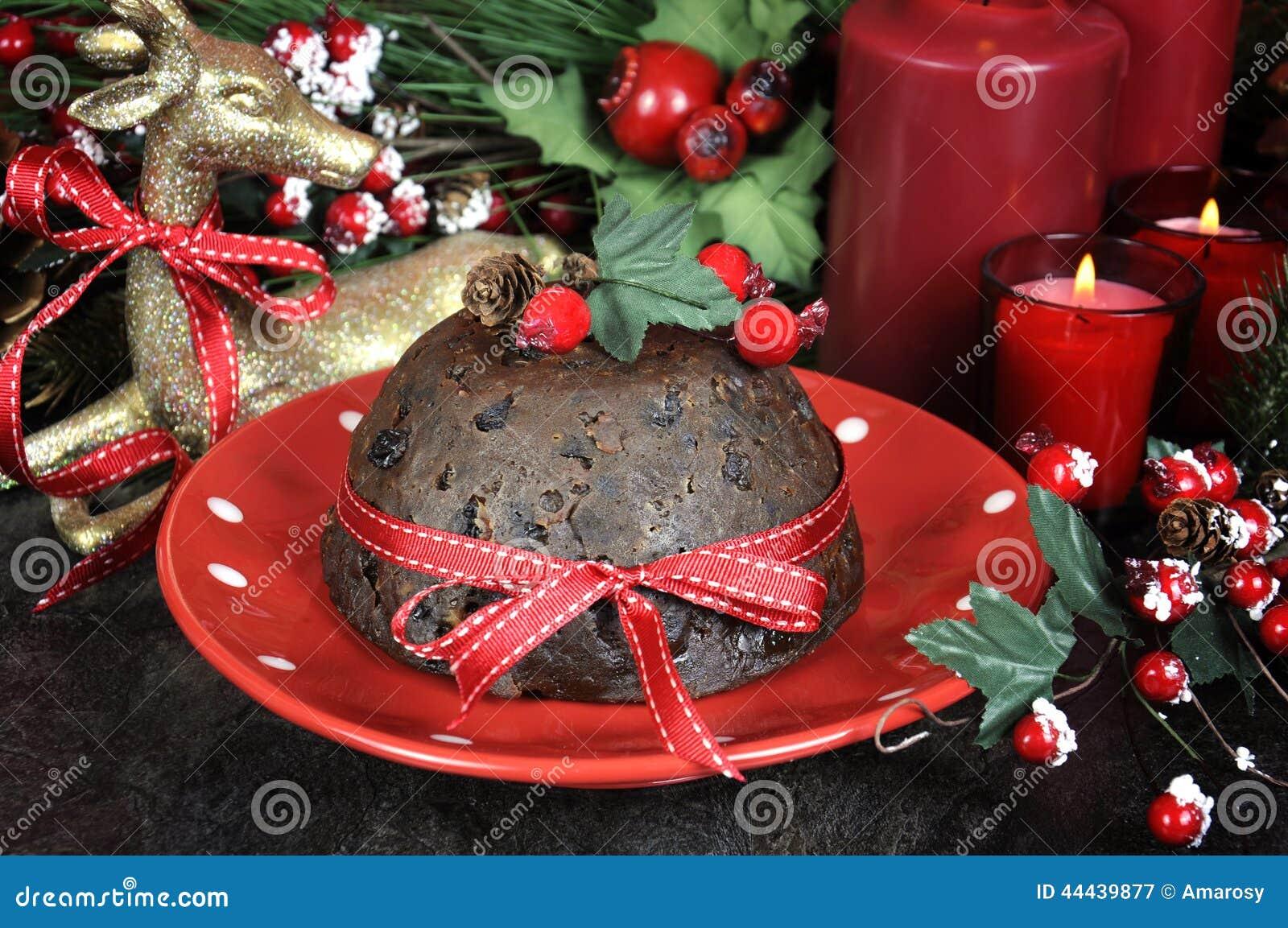 Le dessert anglais de plum pudding de no l de style avec - Decoration de noel en anglais ...