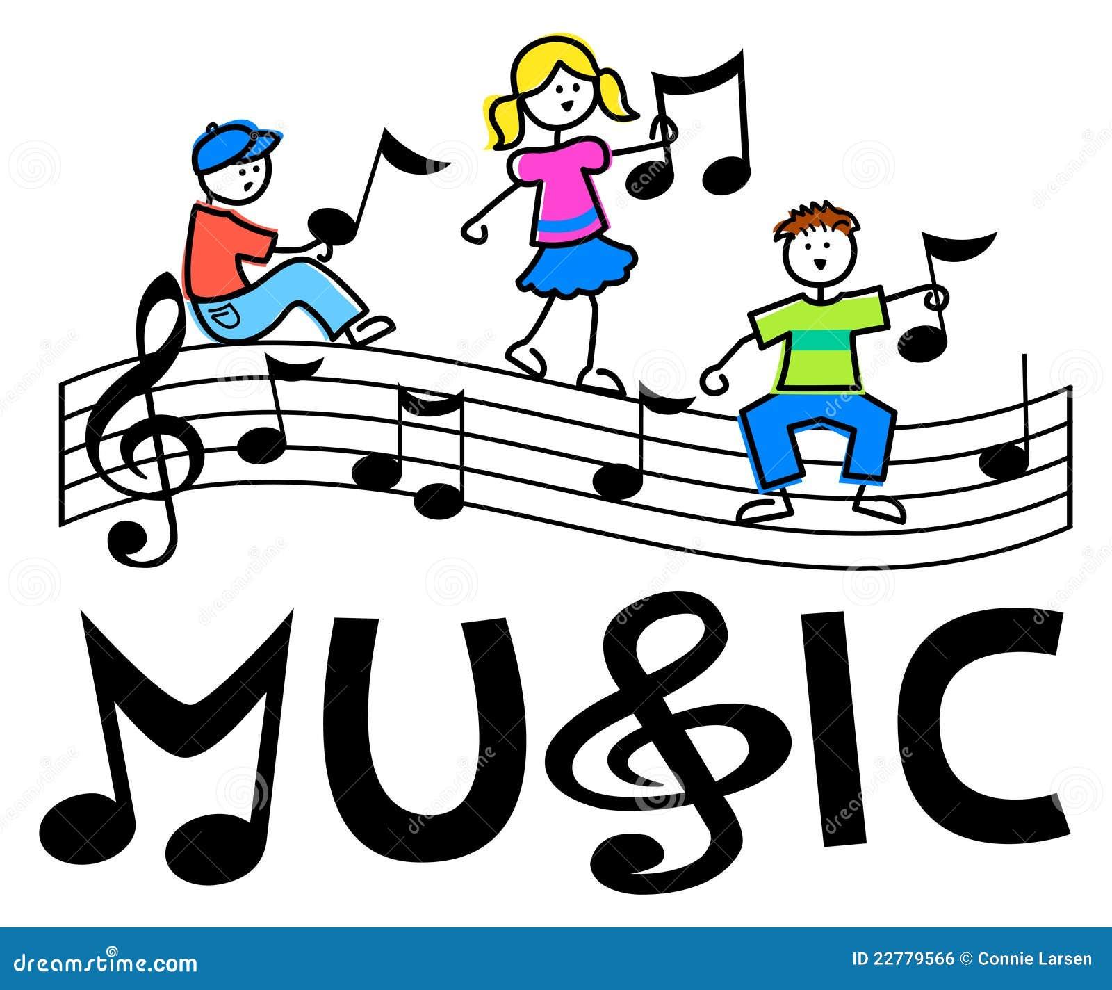 Dessin De Music le dessin animé badine le bar musical/env illustration de vecteur