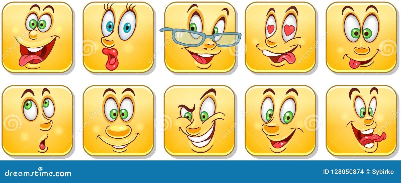 Le Dessin Animé Fait Face Au Ramassage émoticônes Smiley