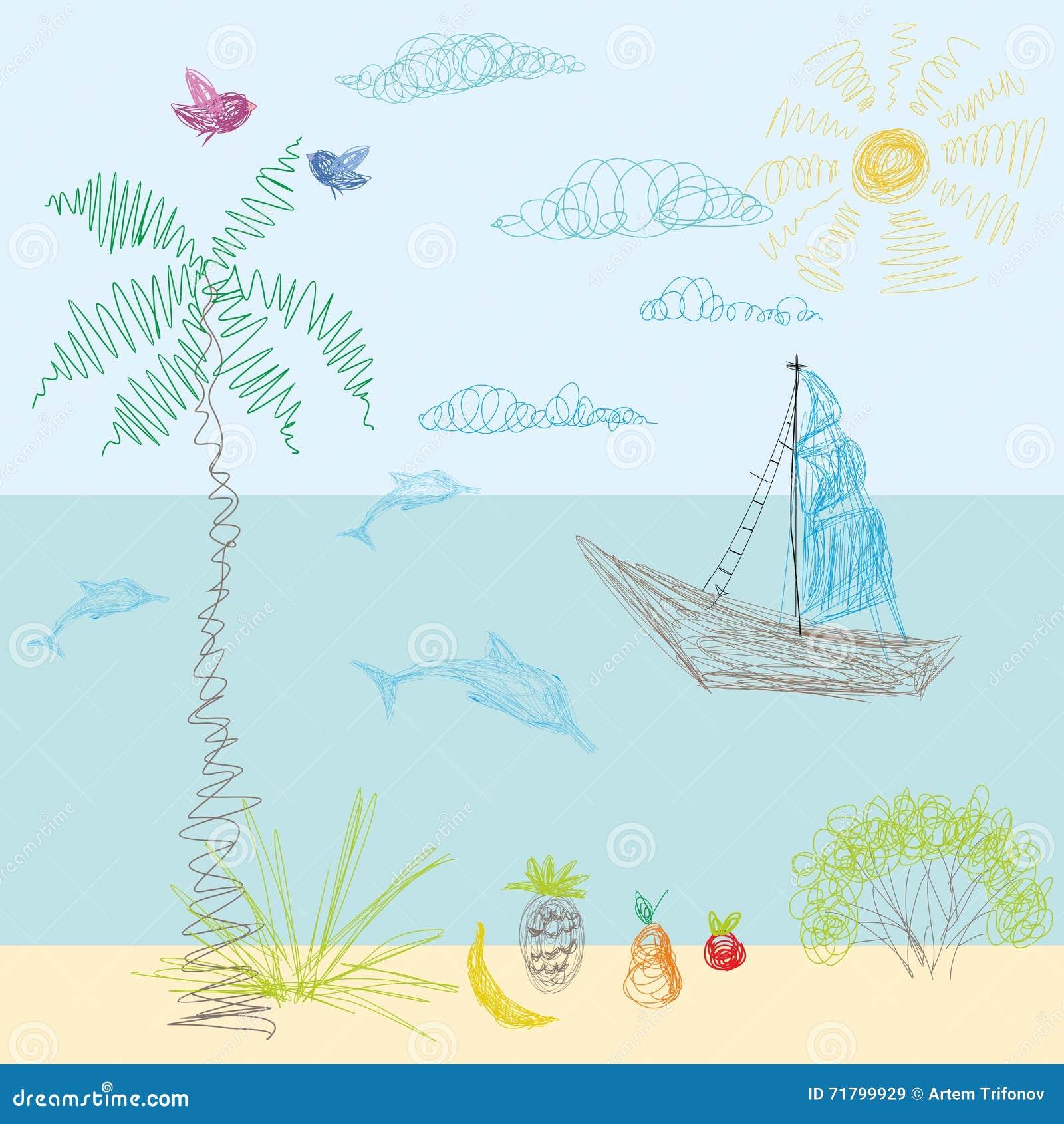 Le dessin d un enfant dans le vecteur Sun, mer, plage, naviguant loin, vaca