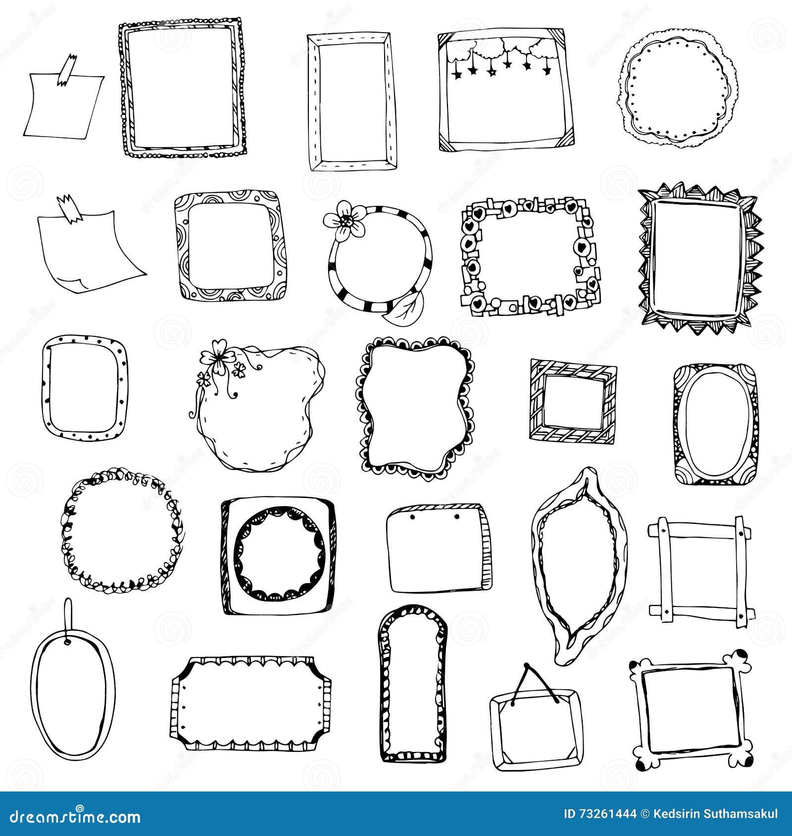 Le dessin de cadre de tableau con oit l 39 ensemble de vecteur sur le blanc d 39 isolement - Cadre photo dessin ...
