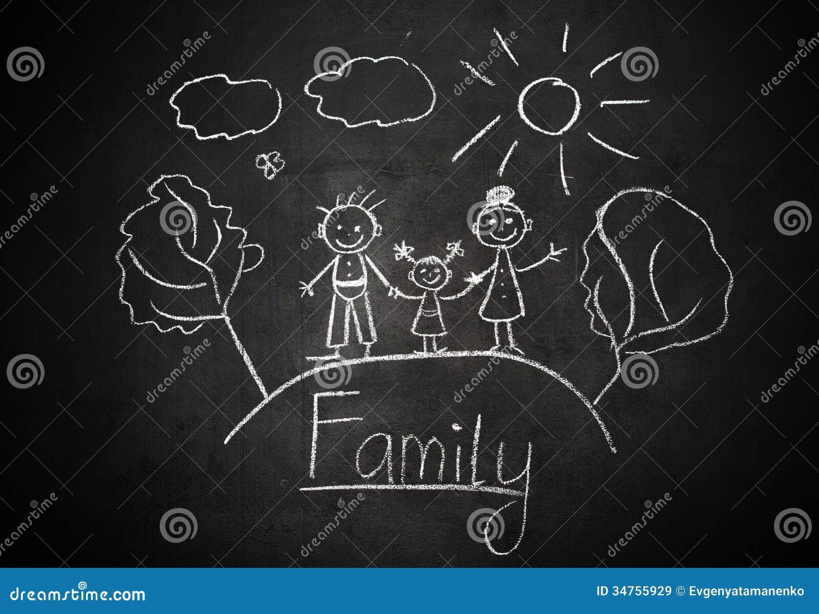le dessin de l 39 enfant avec la craie sur la famille heureuse de tableau noir d 39 cole image stock. Black Bedroom Furniture Sets. Home Design Ideas
