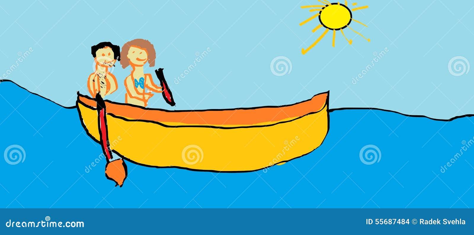 Le dessin de l 39 enfant bateau illustration stock illustration du people scout 55687484 - Dessin bateau enfant ...