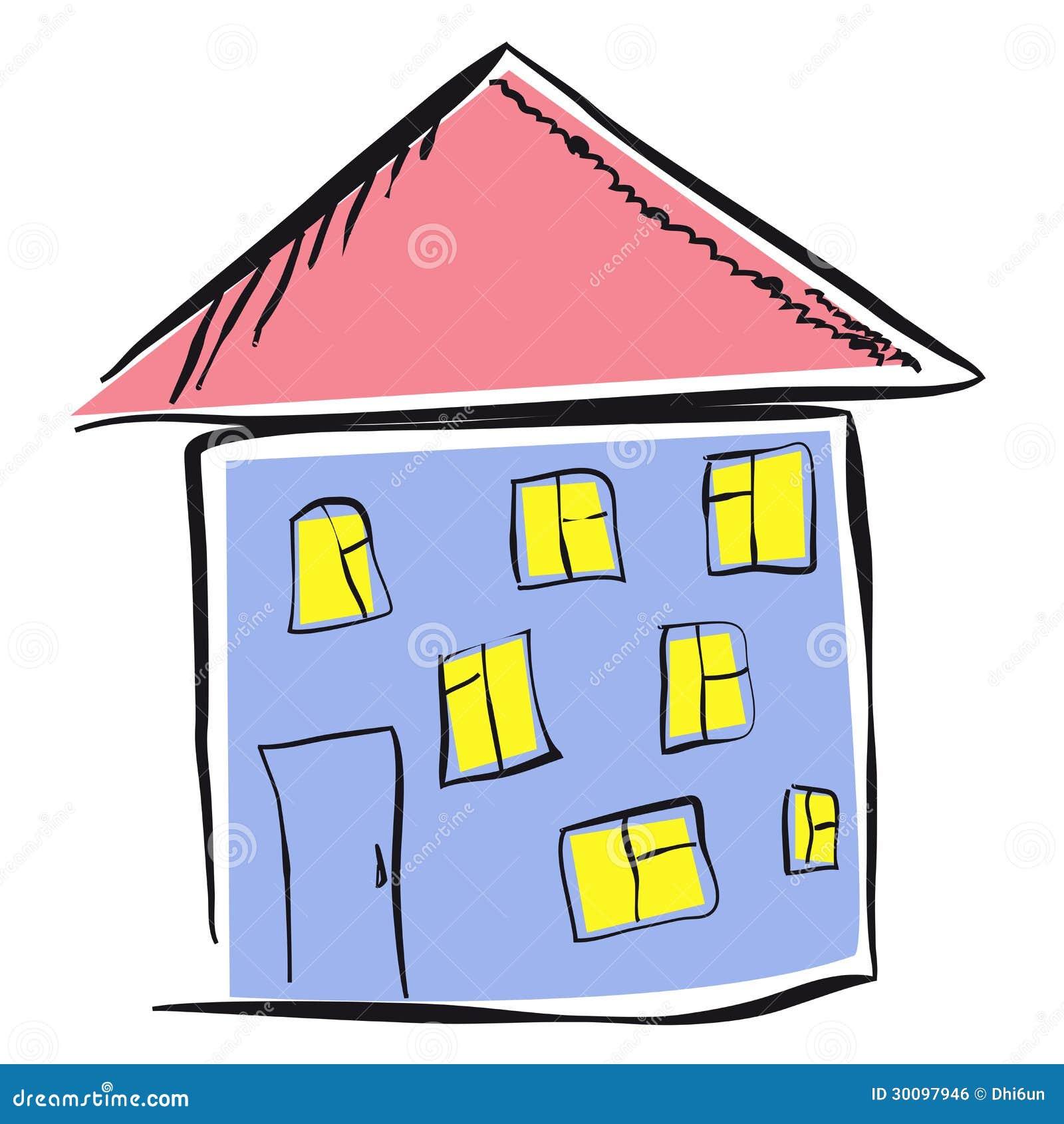 Le dessin de l 39 enfant d 39 une maison image libre de droits for Image maison dessin