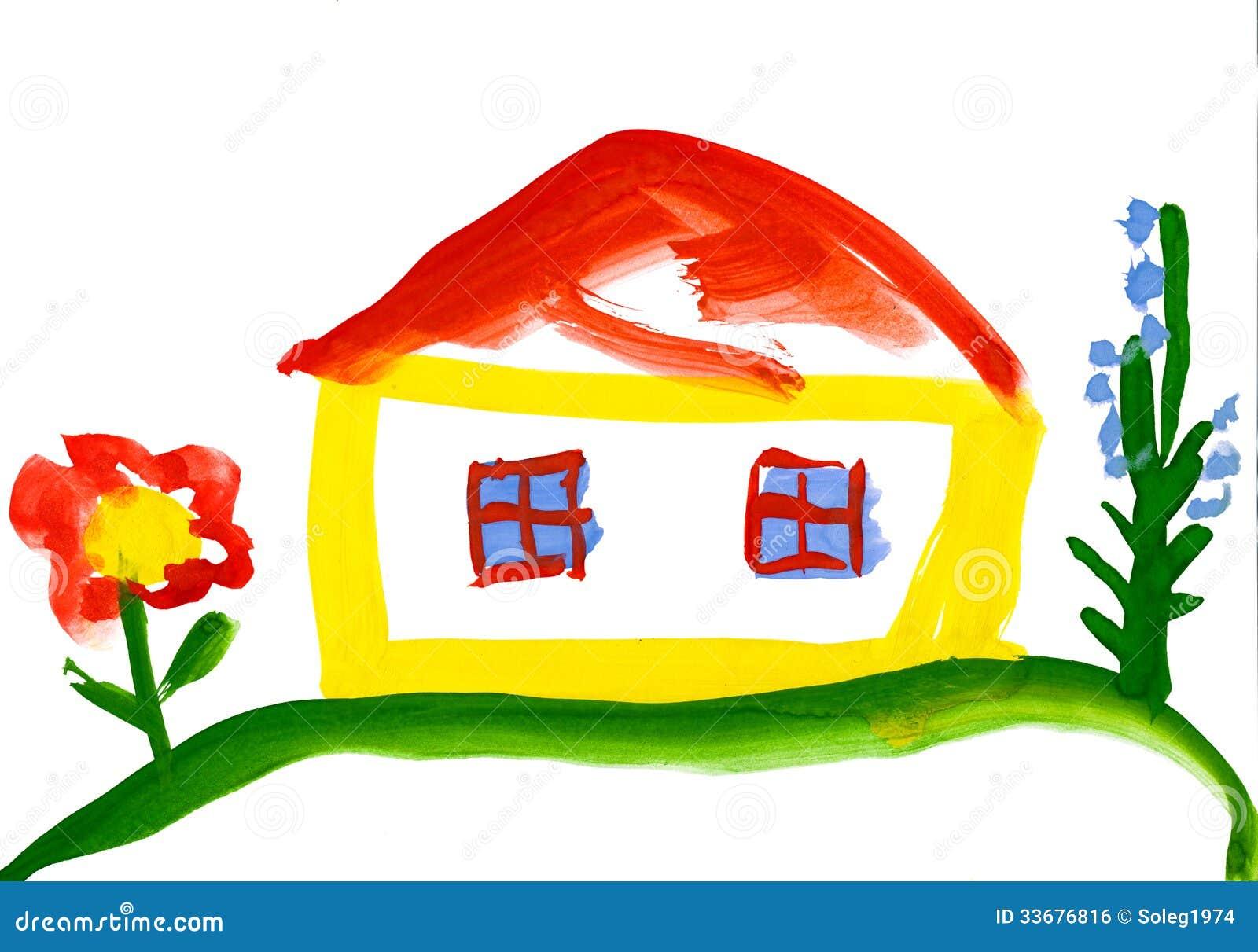 Le dessin de l 39 enfant maison dans le village image libre de droits ima - Dessin maison enfant ...
