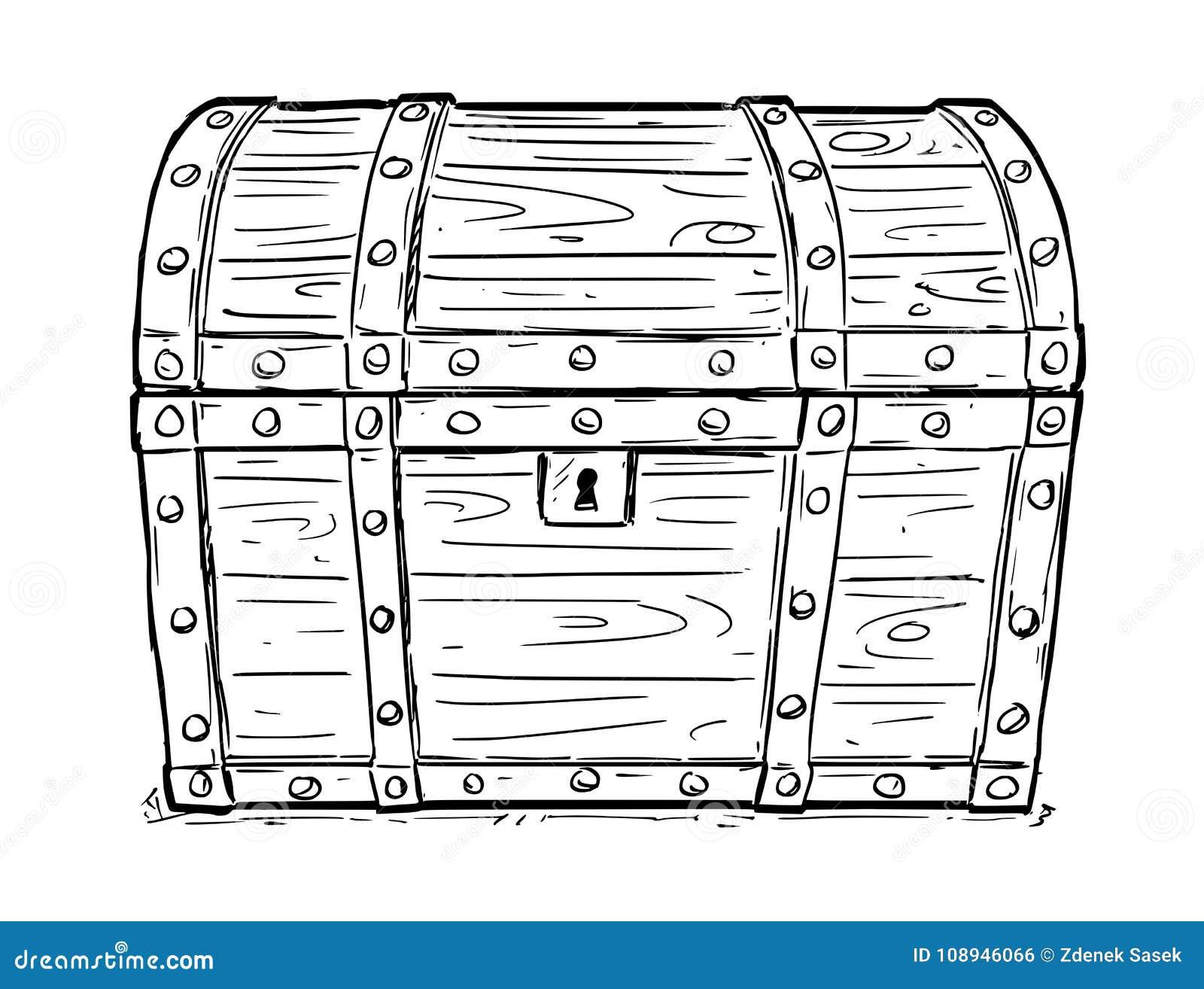 Le dessin de vecteur de bande dessin e de vident le coffre - Dessin de coffre de pirate ...