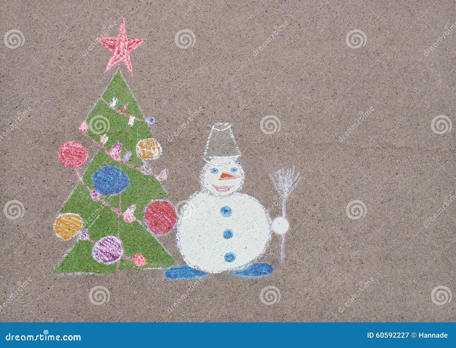 Le dessin des enfants avec la craie du bonhomme de neige pr s de l 39 arbre de no l illustration - Le dessin du bonhomme ...
