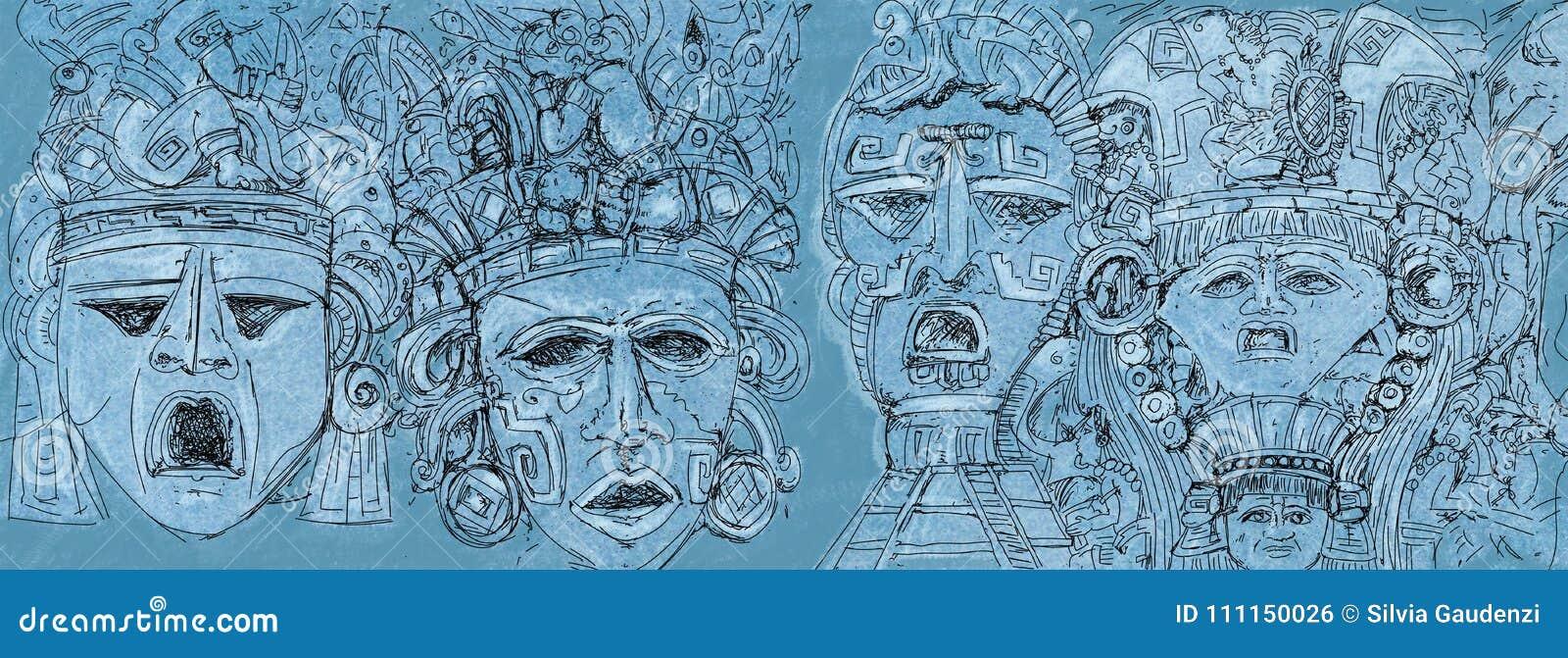 Le Dessin Du Mexicain Masque La Bannière Illustration Stock