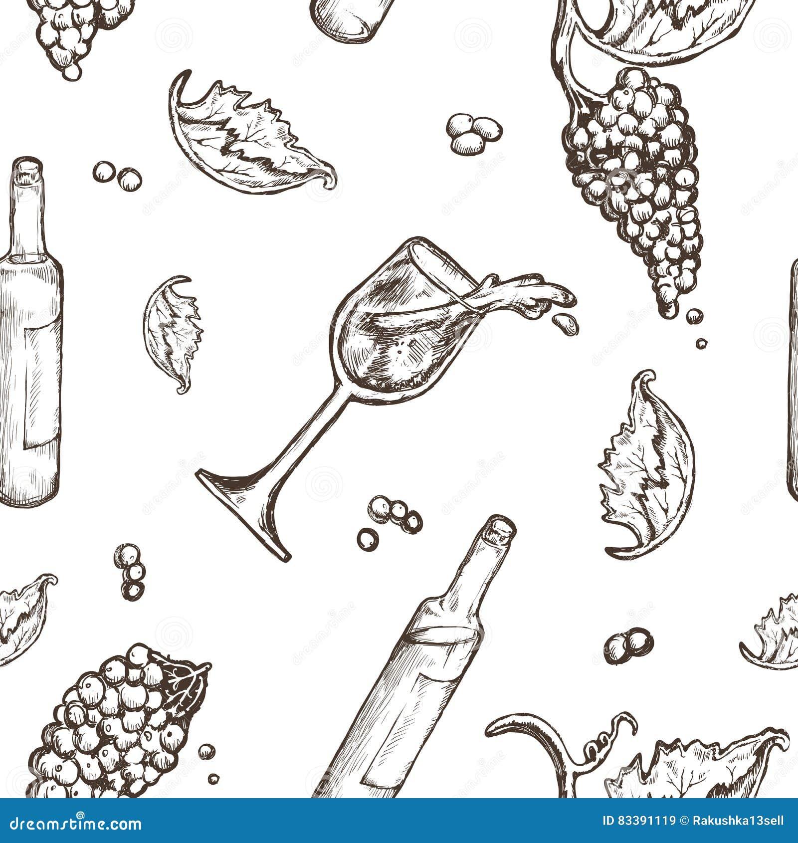 le dessin sans couture de mod u00e8le sur une bouteille blanche de fond et le verre  u00e0 vin wine avec
