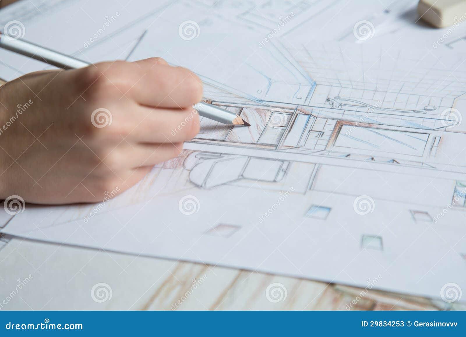 d tails de dessin de main d 39 int rieur illustration stock