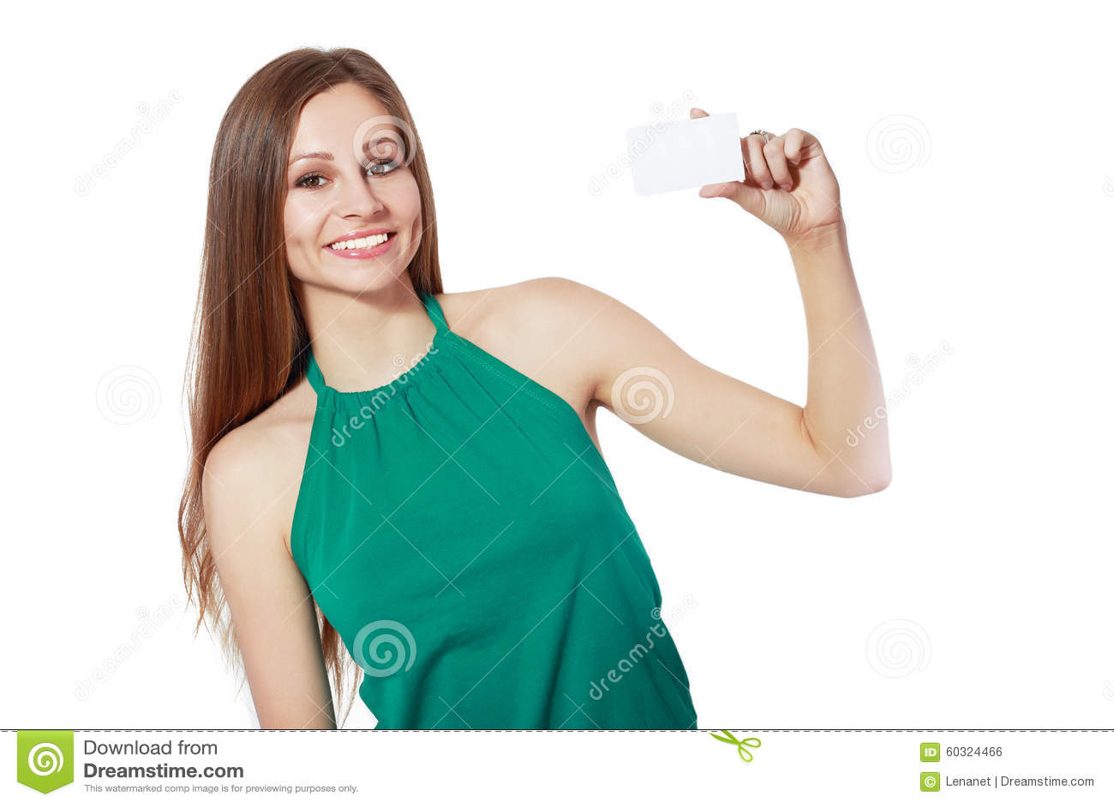 Le det hållande kortet för affärskvinna