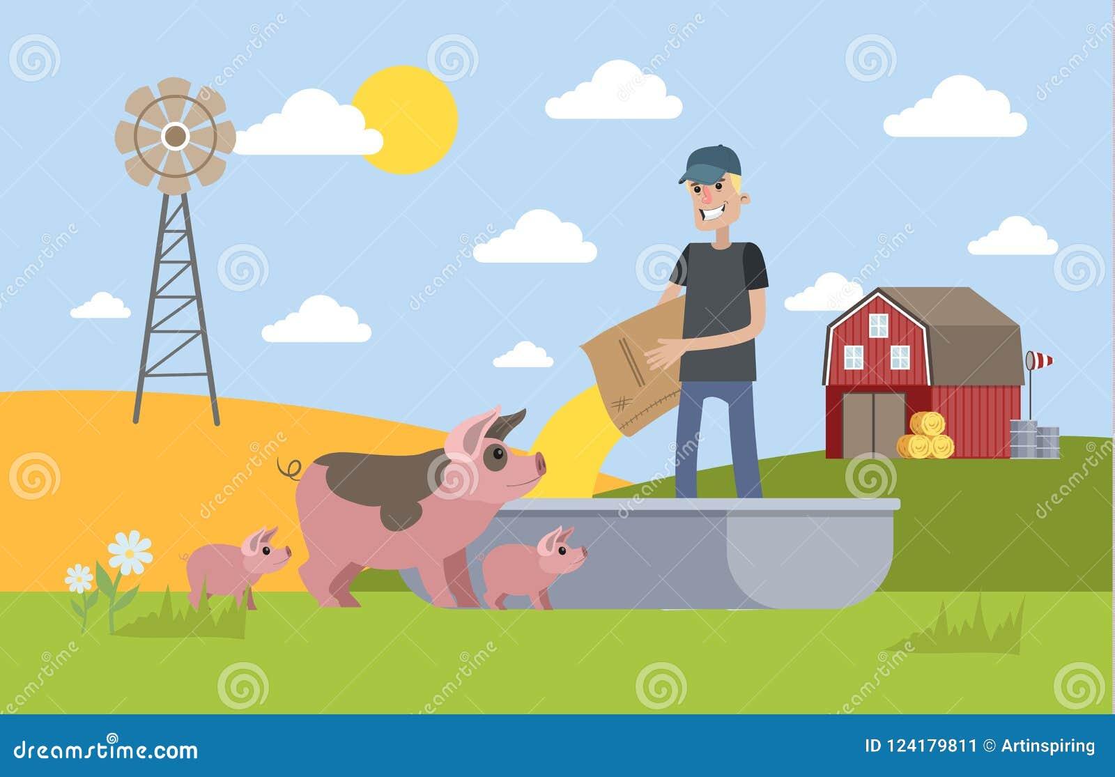 Le det matande svinet för manlig bonde på lantgården