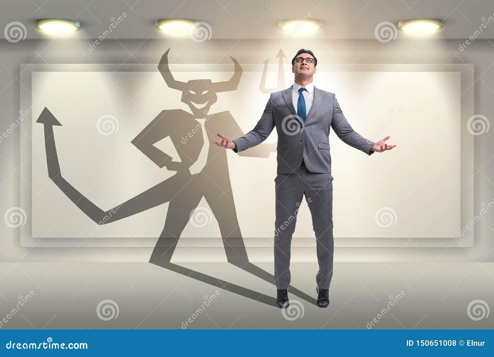 Le diable se cachant dans l homme d affaires - concept d alter ego