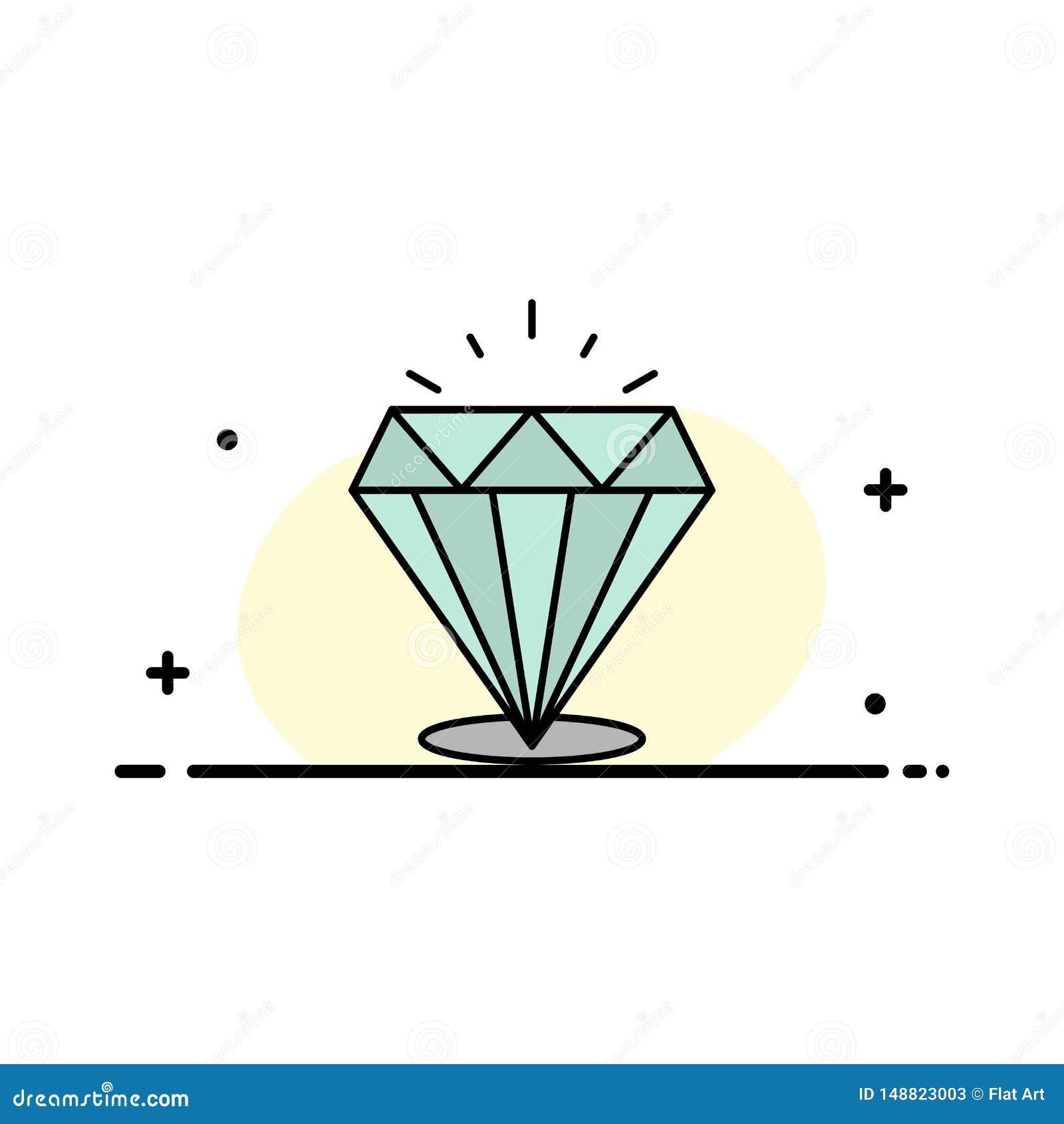 Le diamant, éclat, cher, ligne plate d affaires de pierre a rempli calibre de bannière de vecteur d icône
