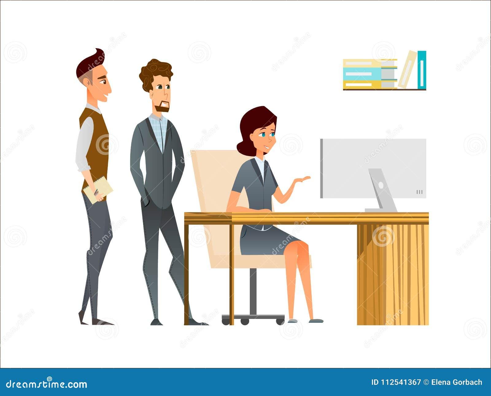 le directeur et les employ s discutent dans le bureau personnages de dessin anim d 39 affaires en. Black Bedroom Furniture Sets. Home Design Ideas