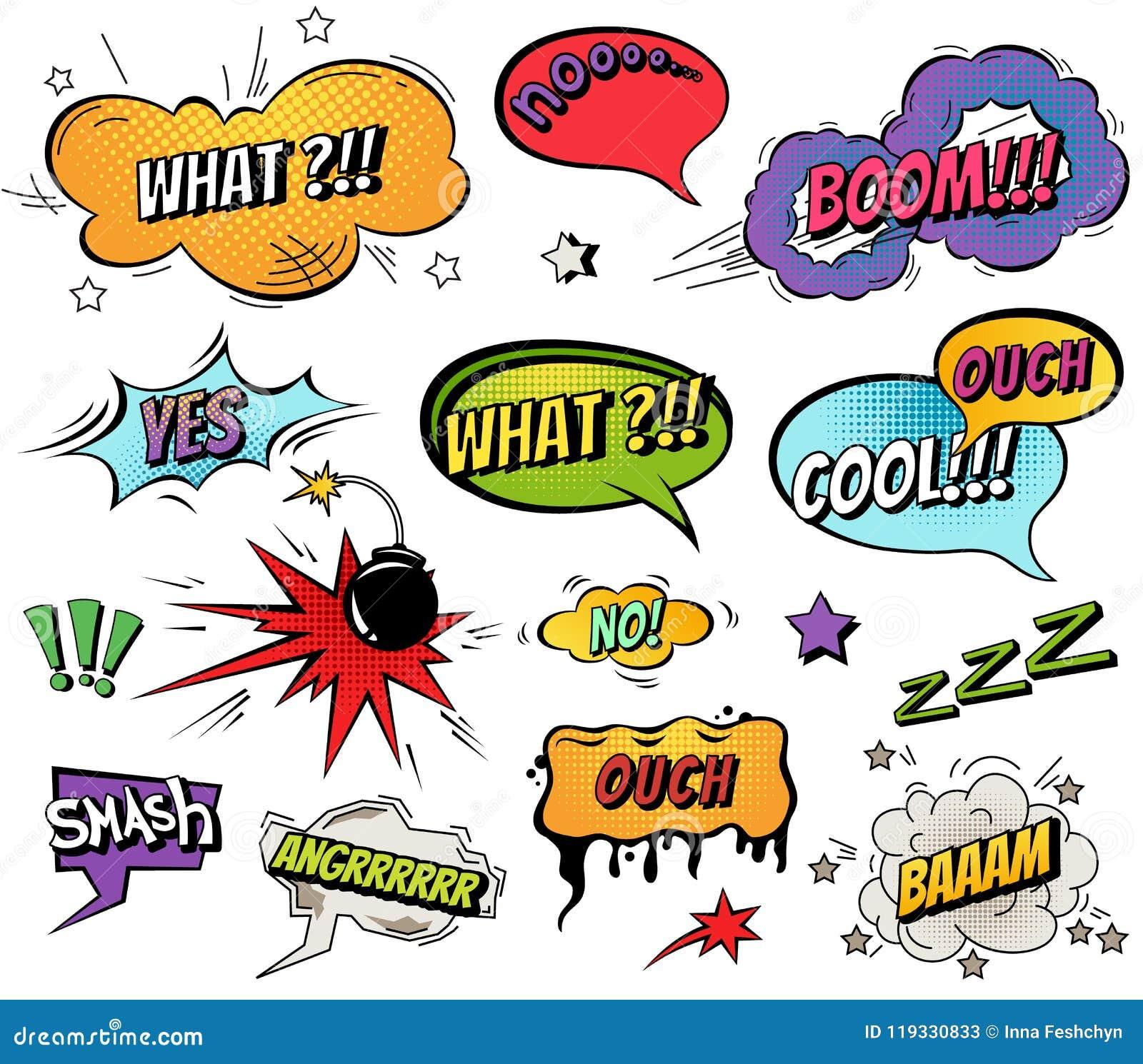 Le discours comique bouillonne et éclabousse l ensemble avec différentes émotions et illustrations dynamiques lumineuses de bande