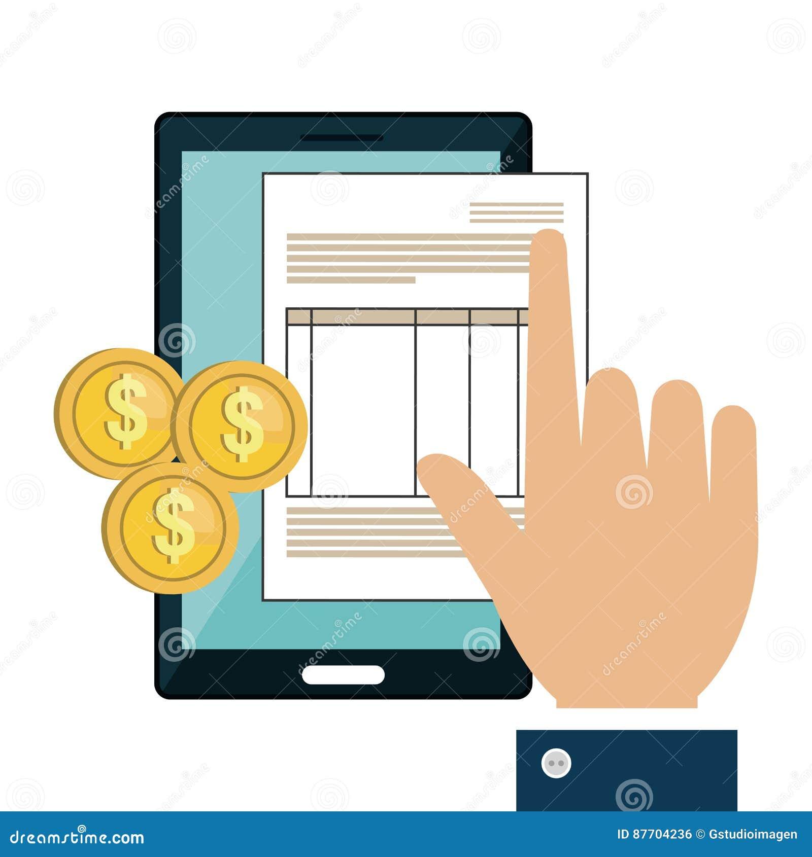 Le dispositif de Smartphone avec des documents a isolé l icône