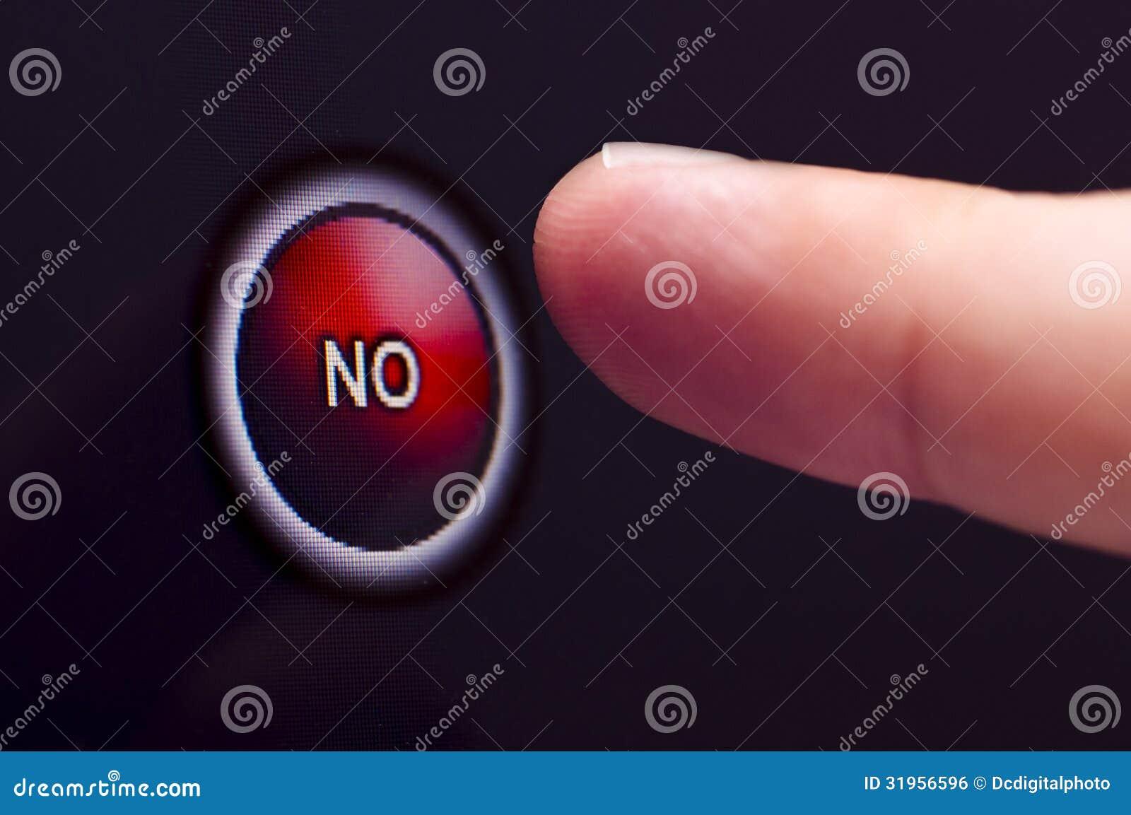 Le doigt presse le rouge AUCUN bouton sur l écran tactile