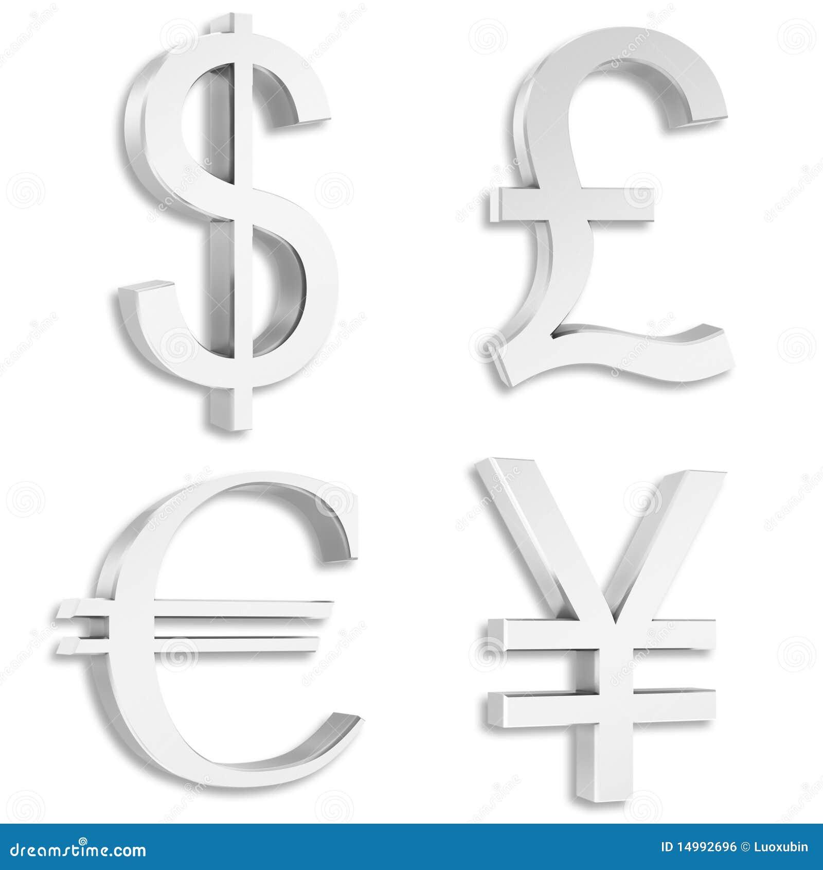 Le dollar en argent, livre, euro, yuan signe